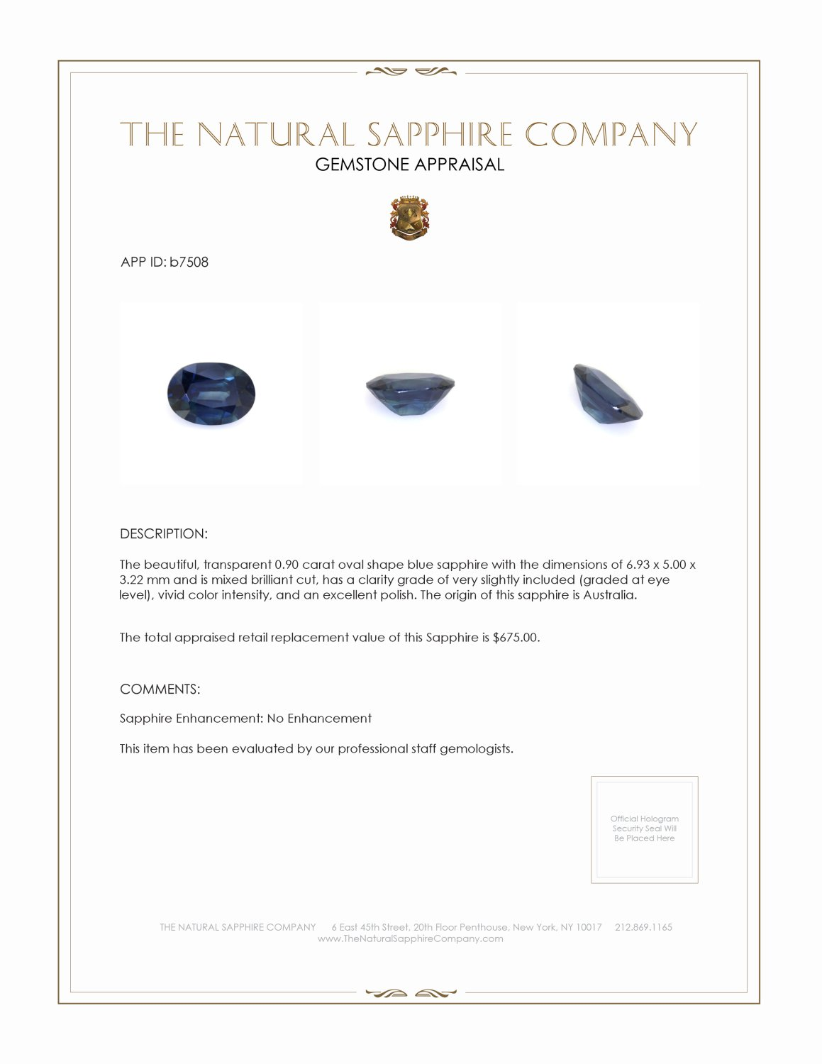 Natural Untreated Blue Sapphire B7508 Certification 3