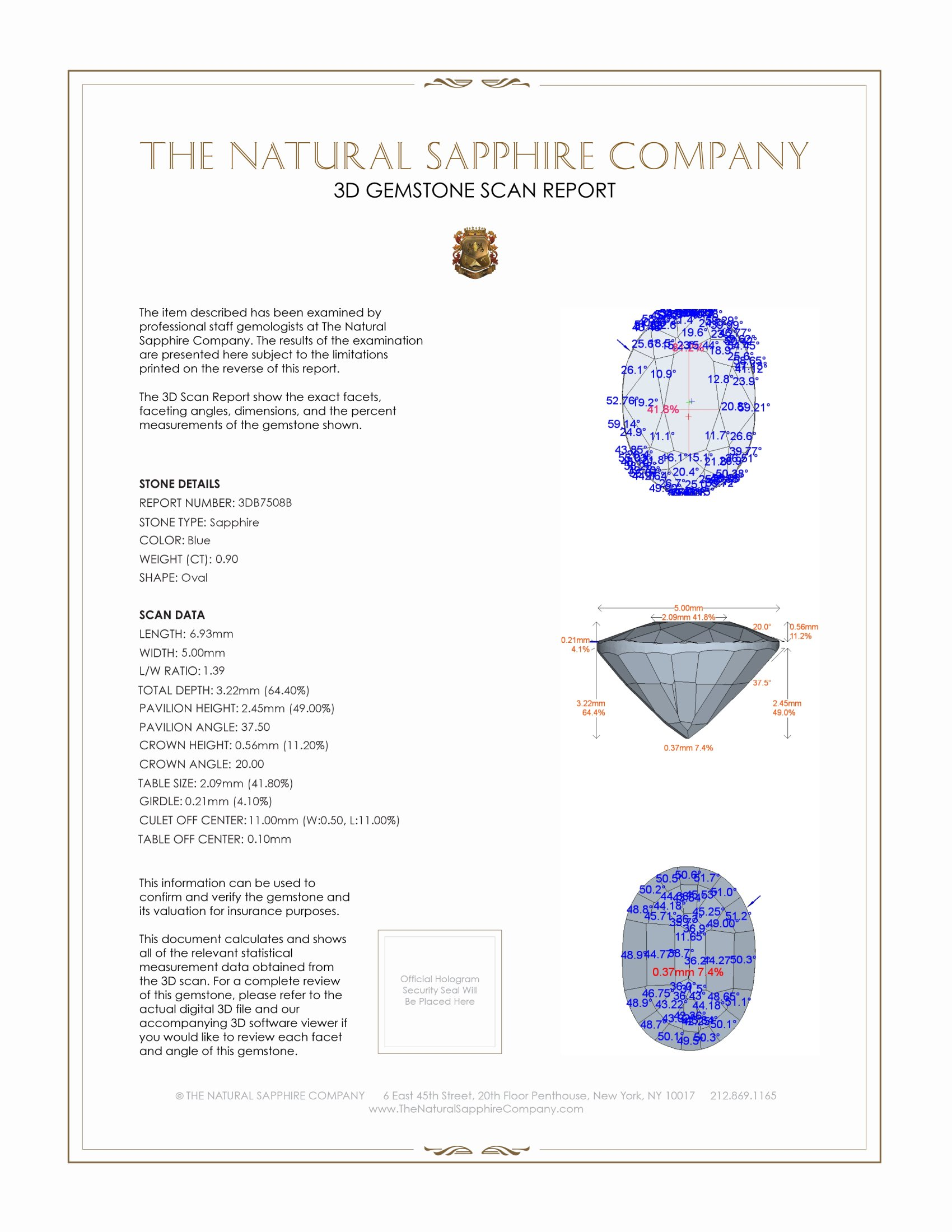 Natural Untreated Blue Sapphire B7508 Certification 2