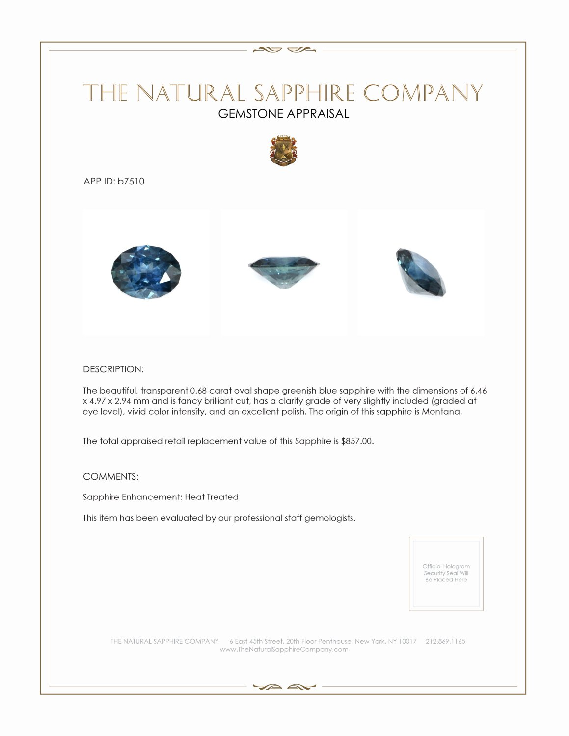 Natural Blue Sapphire B7510 Certification 3