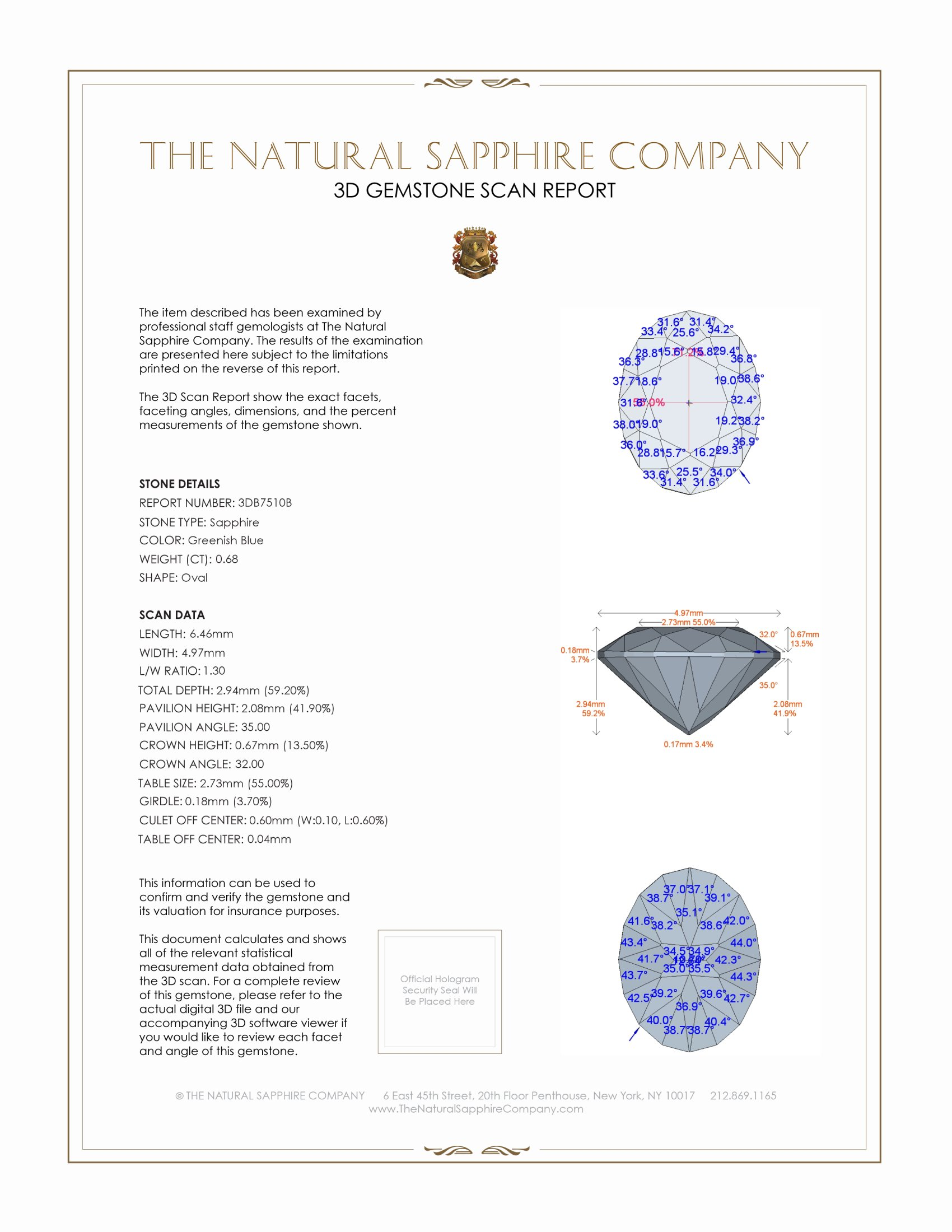 Natural Blue Sapphire B7510 Certification 2