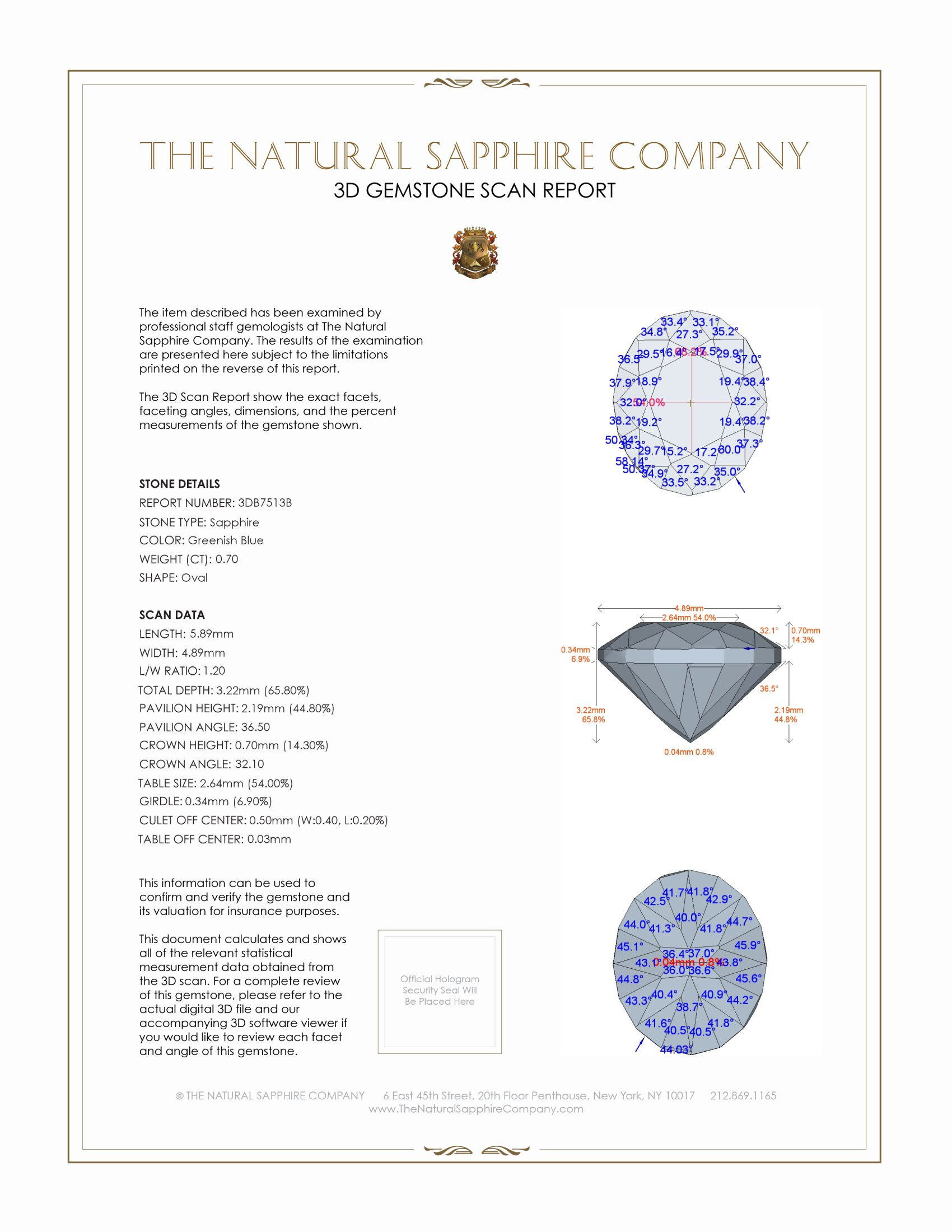 Natural Blue Sapphire B7513 Certification 2