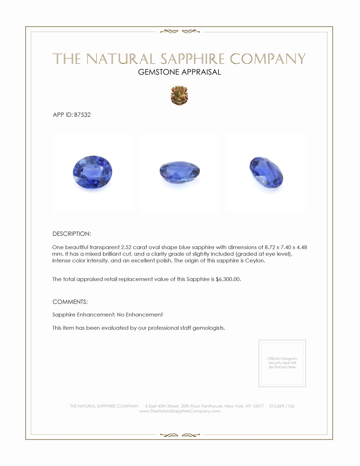 Natural Untreated Blue Sapphire B7532 Certification 4
