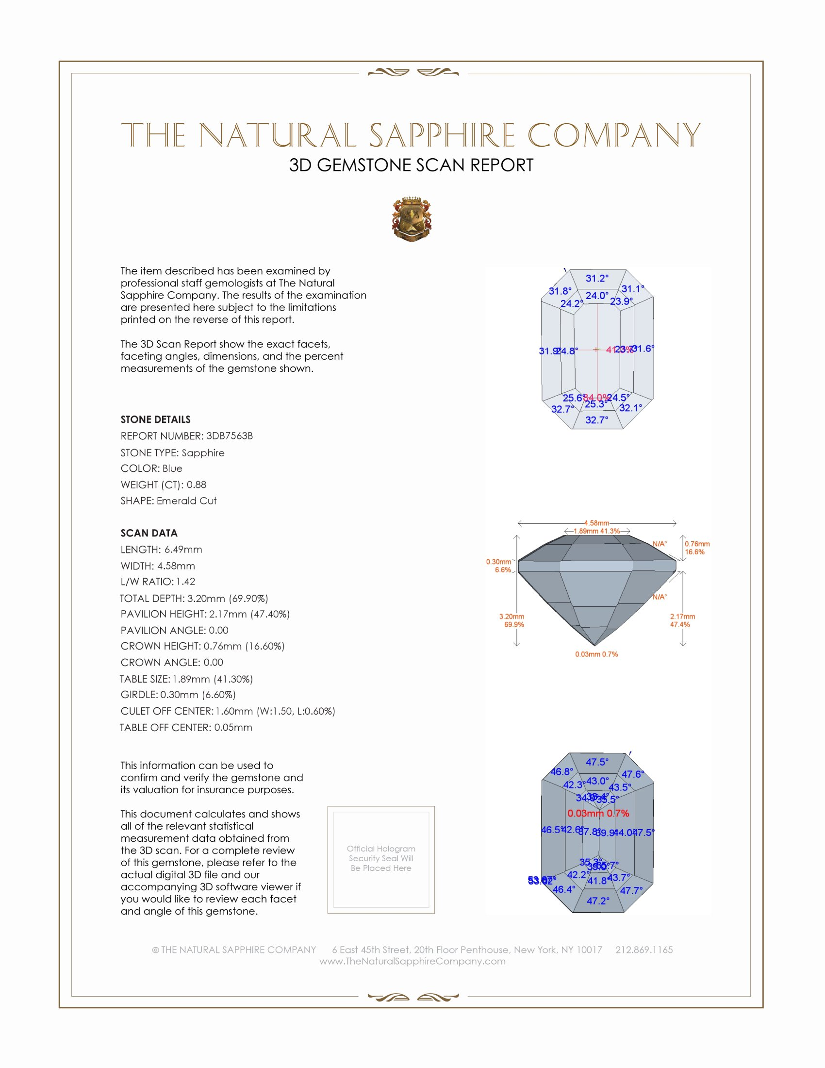 Natural Untreated Blue Sapphire B7563 Certification 2