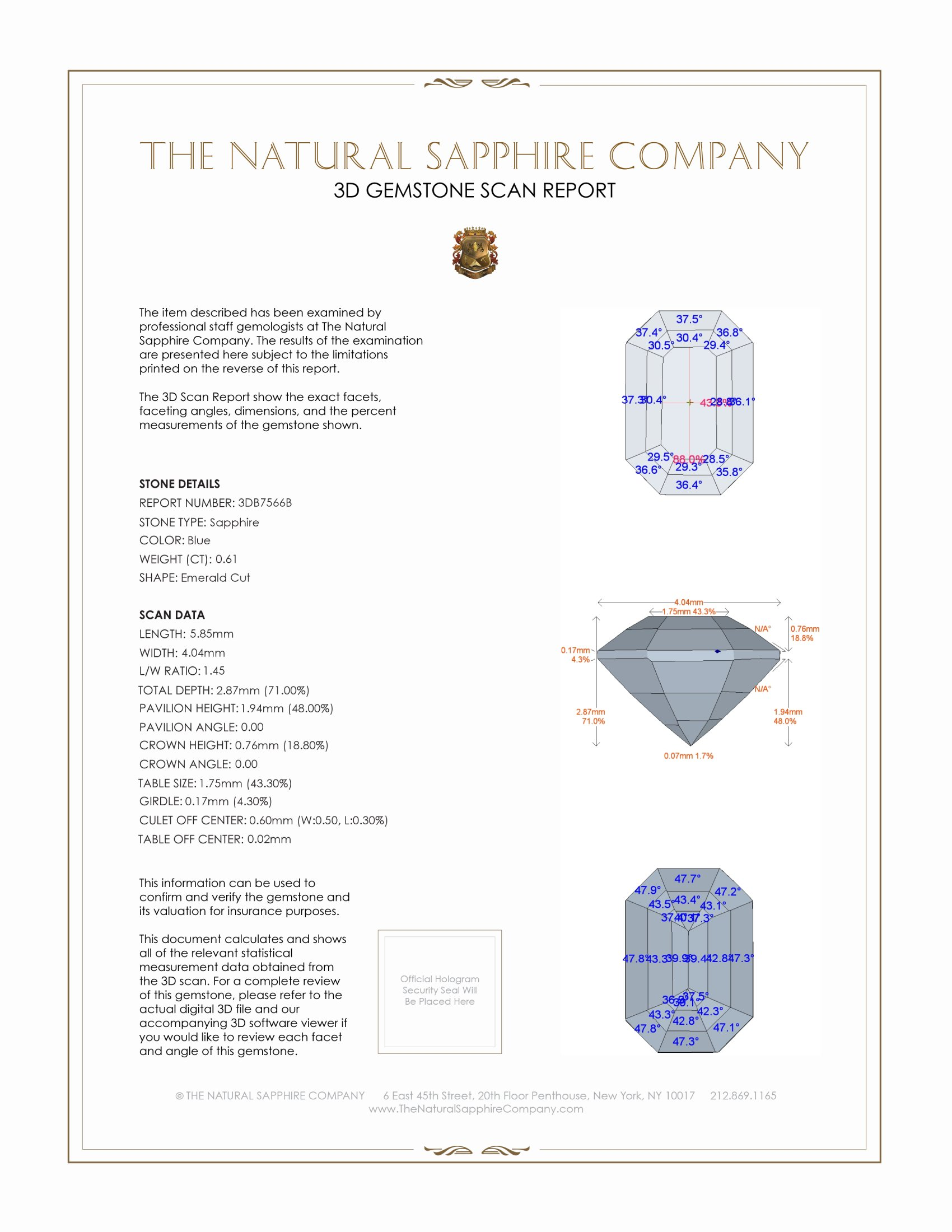 Natural Untreated Blue Sapphire B7566 Certification 2