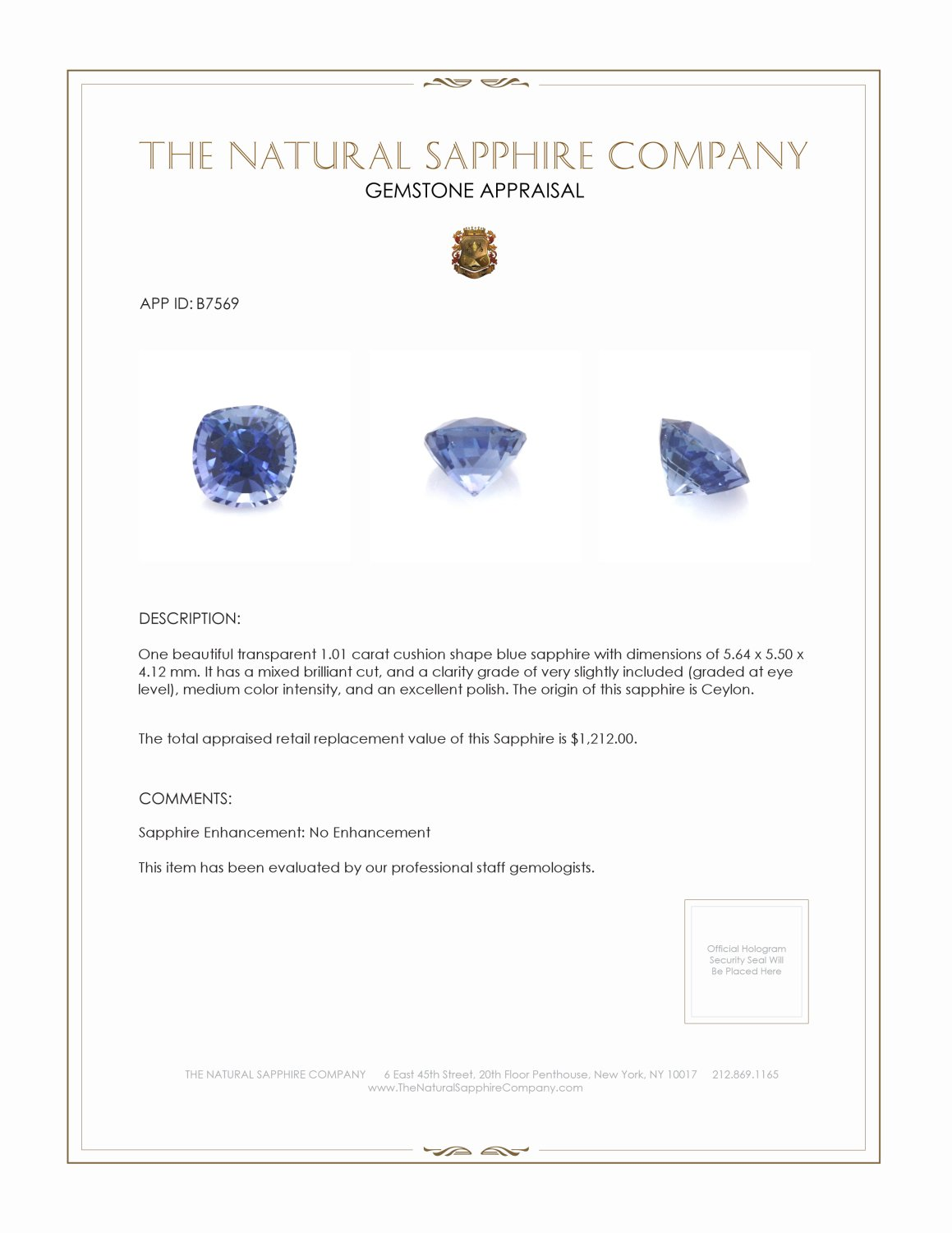 Natural Untreated Blue Sapphire B7569 Certification 3