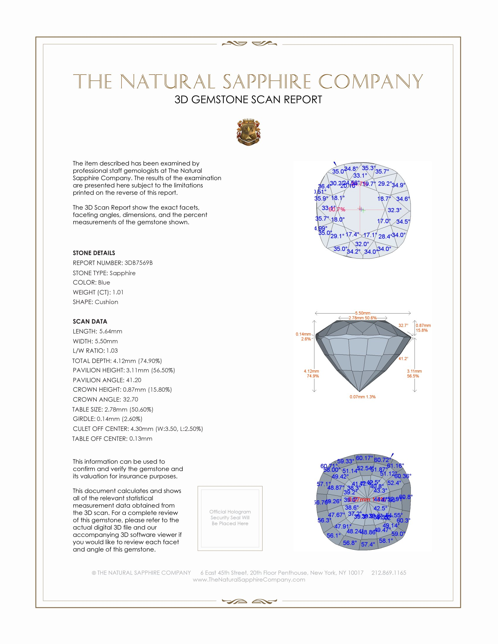 Natural Untreated Blue Sapphire B7569 Certification 2