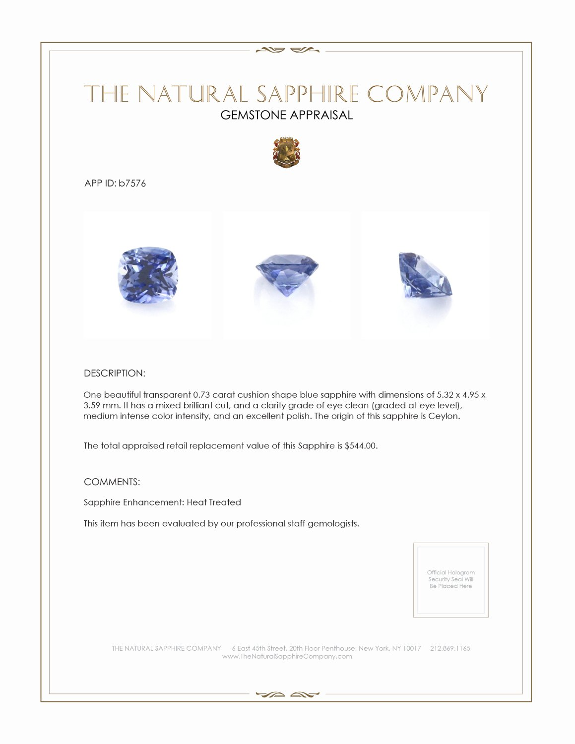 Natural Blue Sapphire B7576 Certification 3