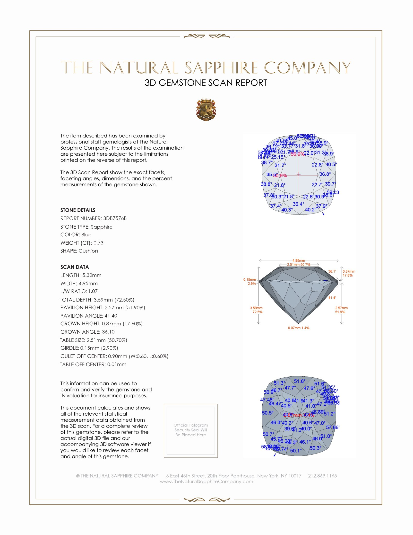 Natural Blue Sapphire B7576 Certification 2