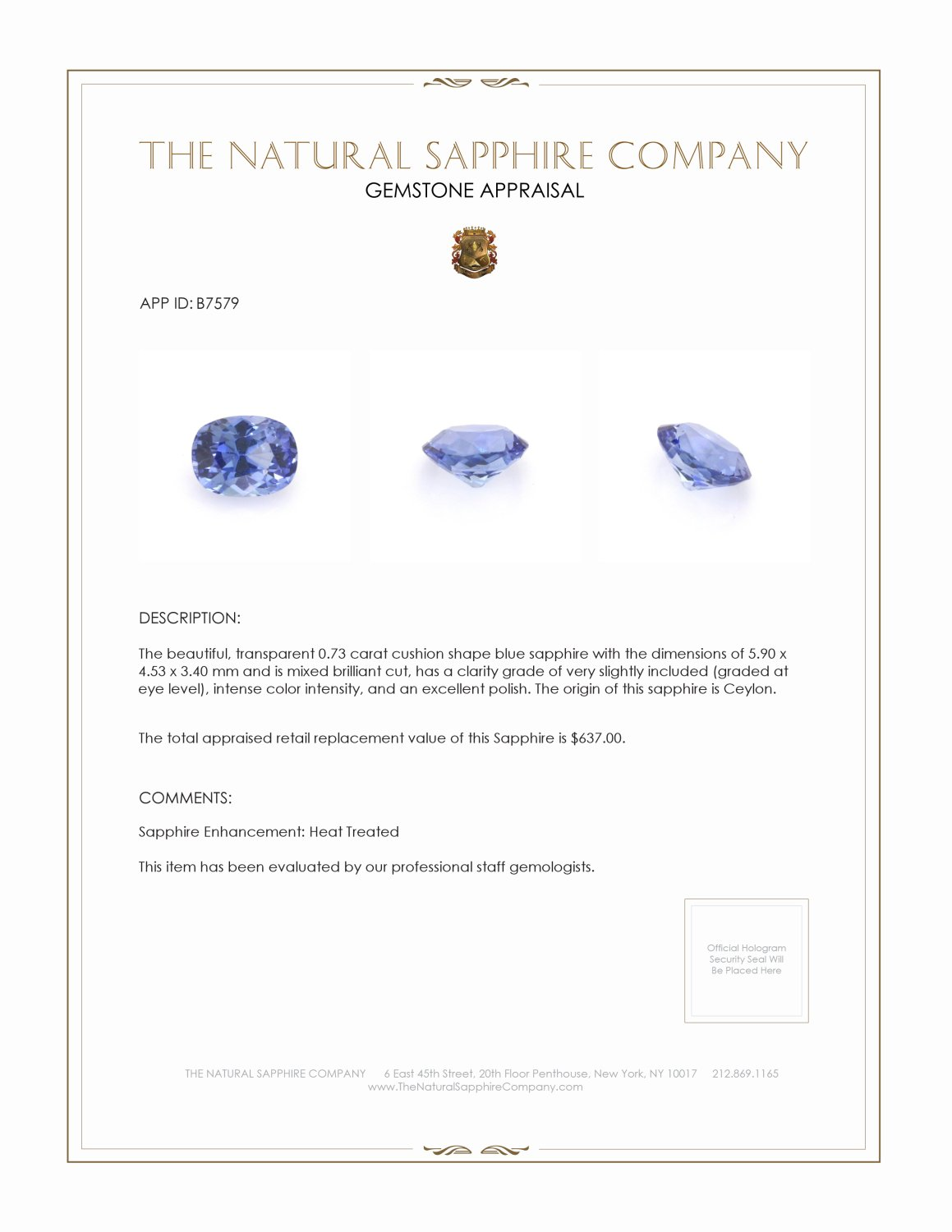 Natural Blue Sapphire B7579 Certification 3