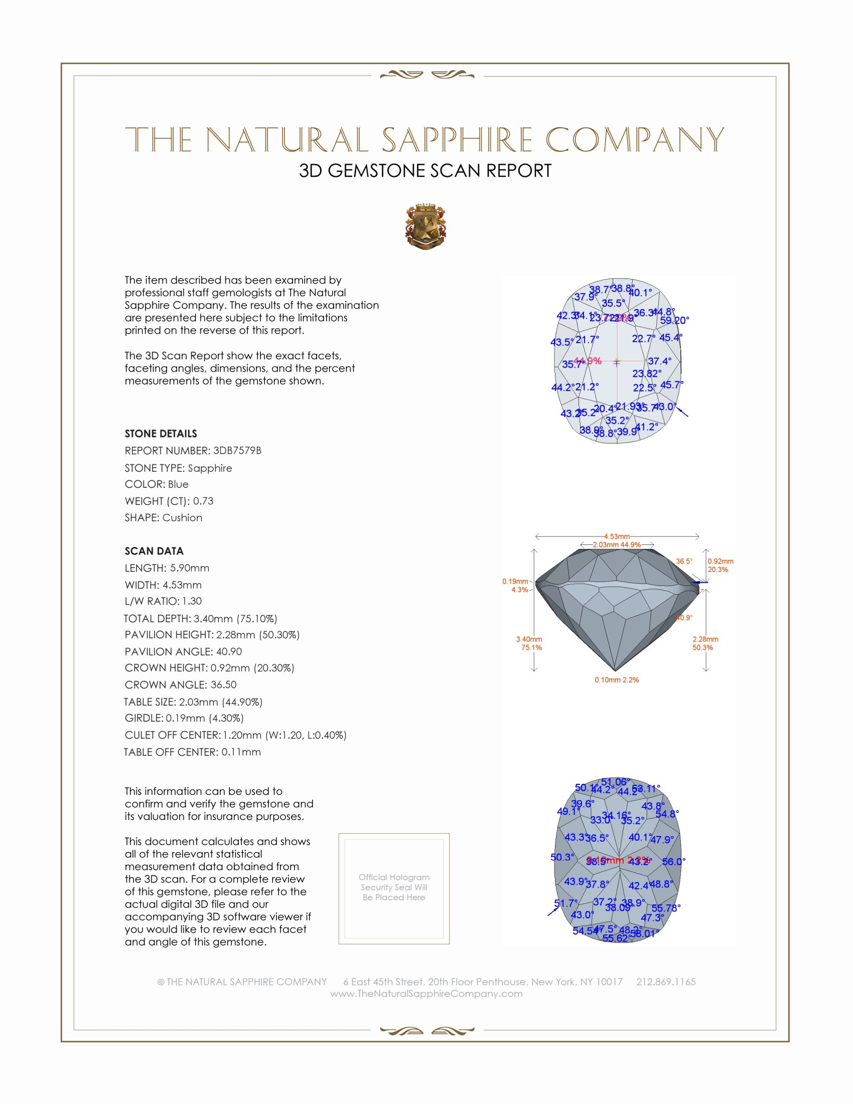 Natural Blue Sapphire B7579 Certification 2