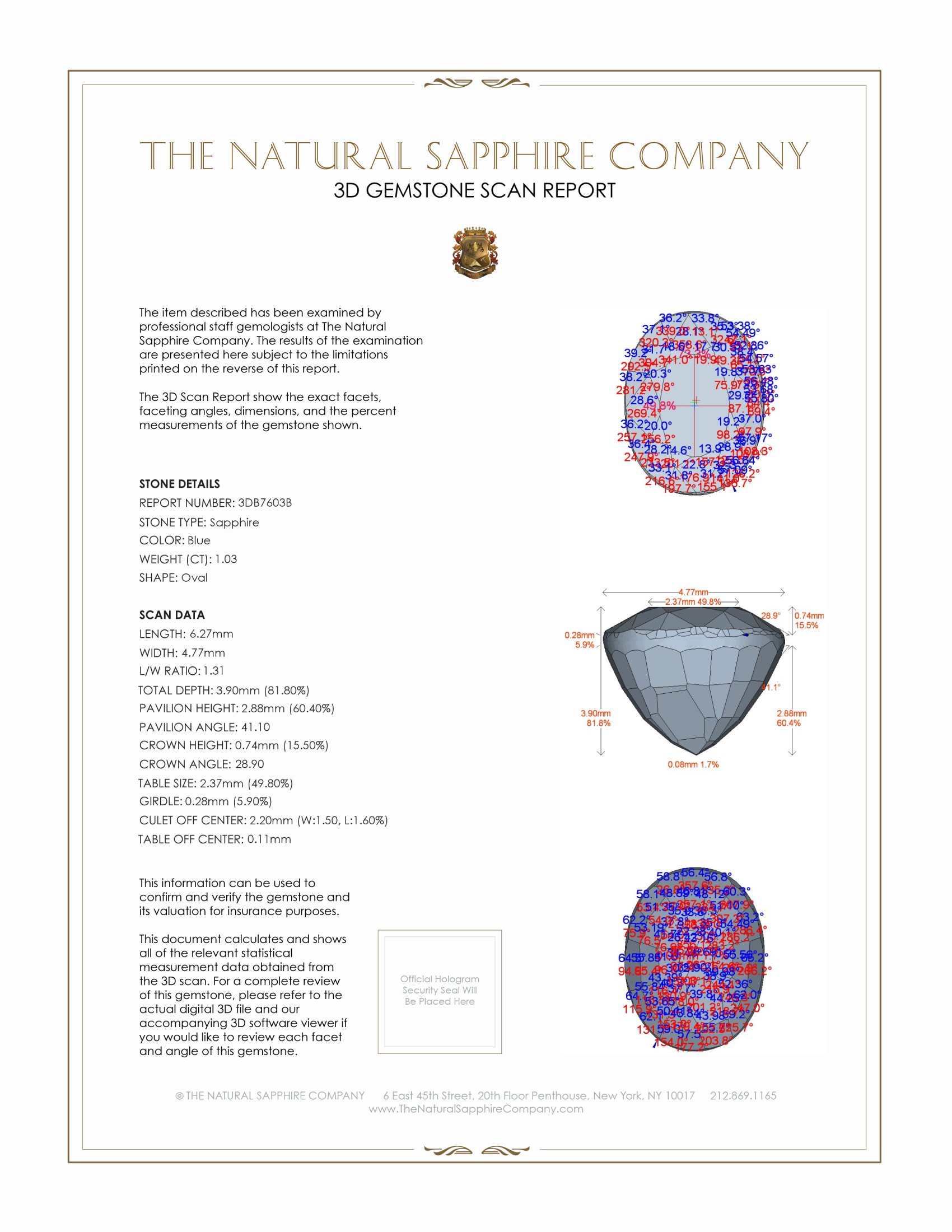 Natural Untreated Blue Sapphire B7603 Certification 2