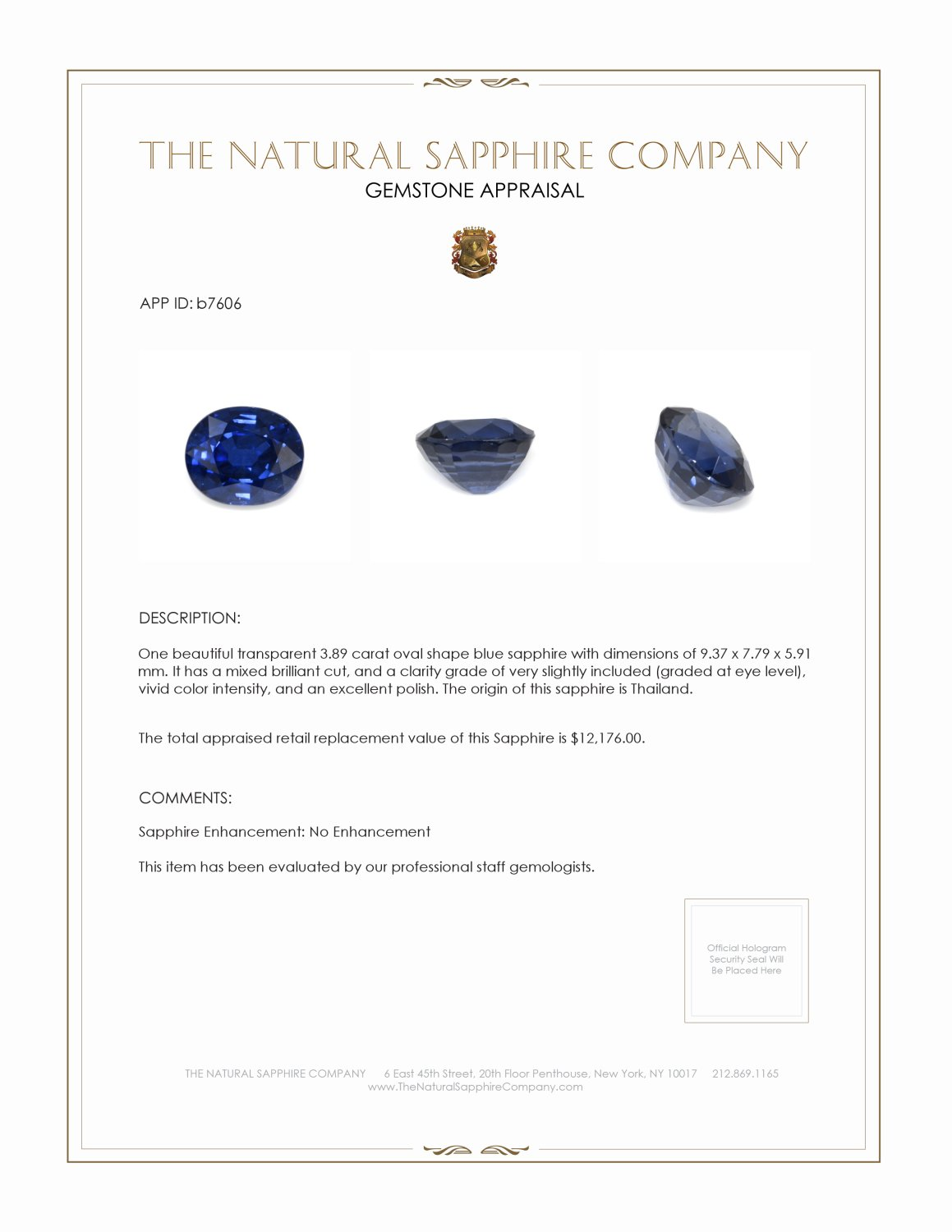 Natural Untreated Blue Sapphire B7606 Certification