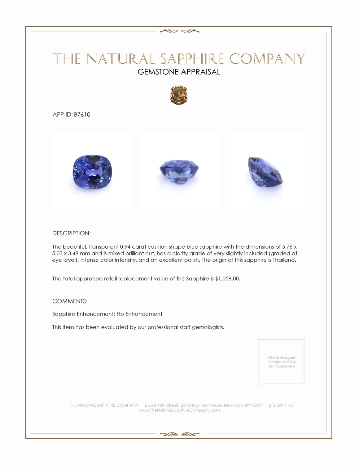 Natural Untreated Blue Sapphire B7610 Certification 3