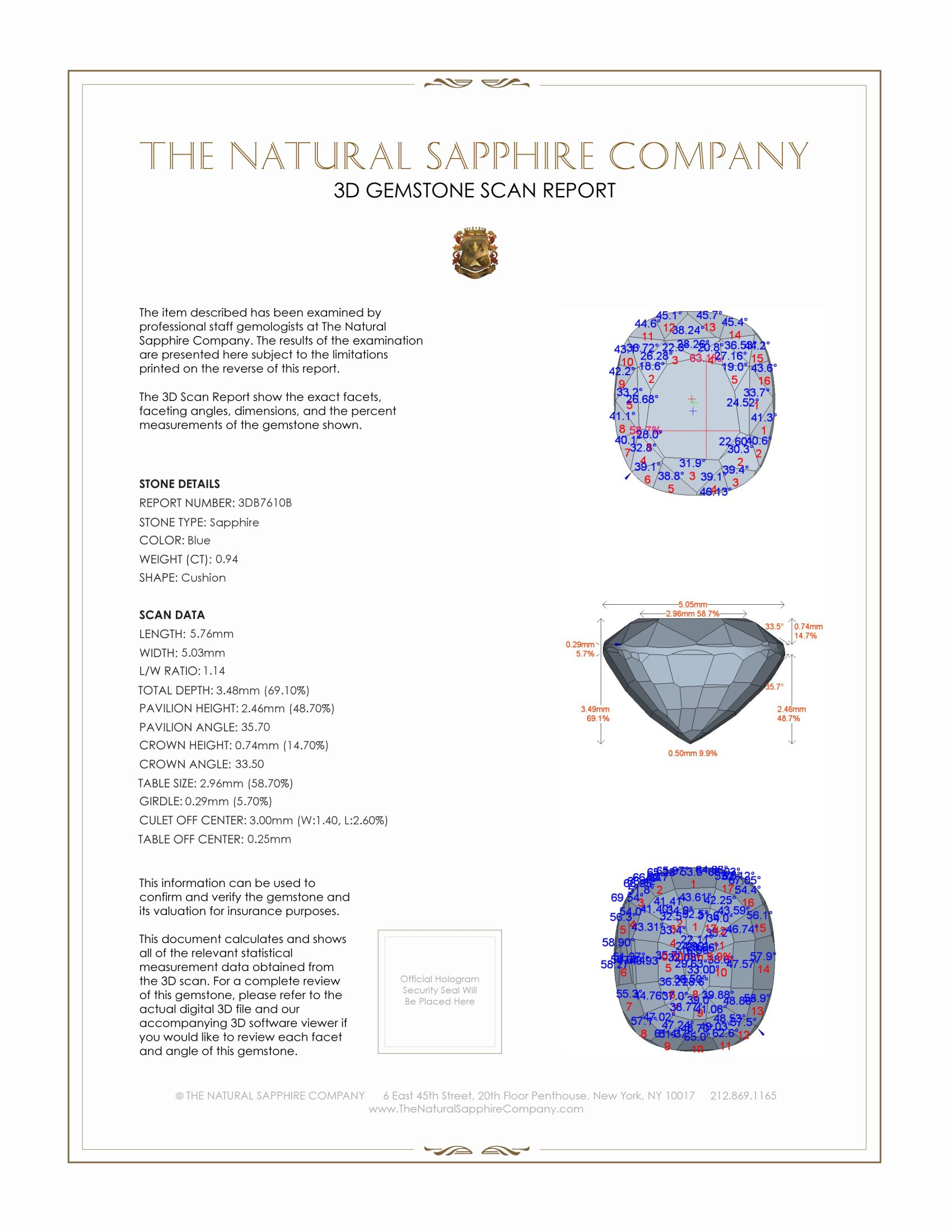 Natural Untreated Blue Sapphire B7610 Certification 2