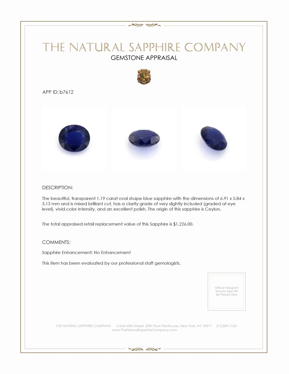 Natural Untreated Blue Sapphire B7612 Certification 4