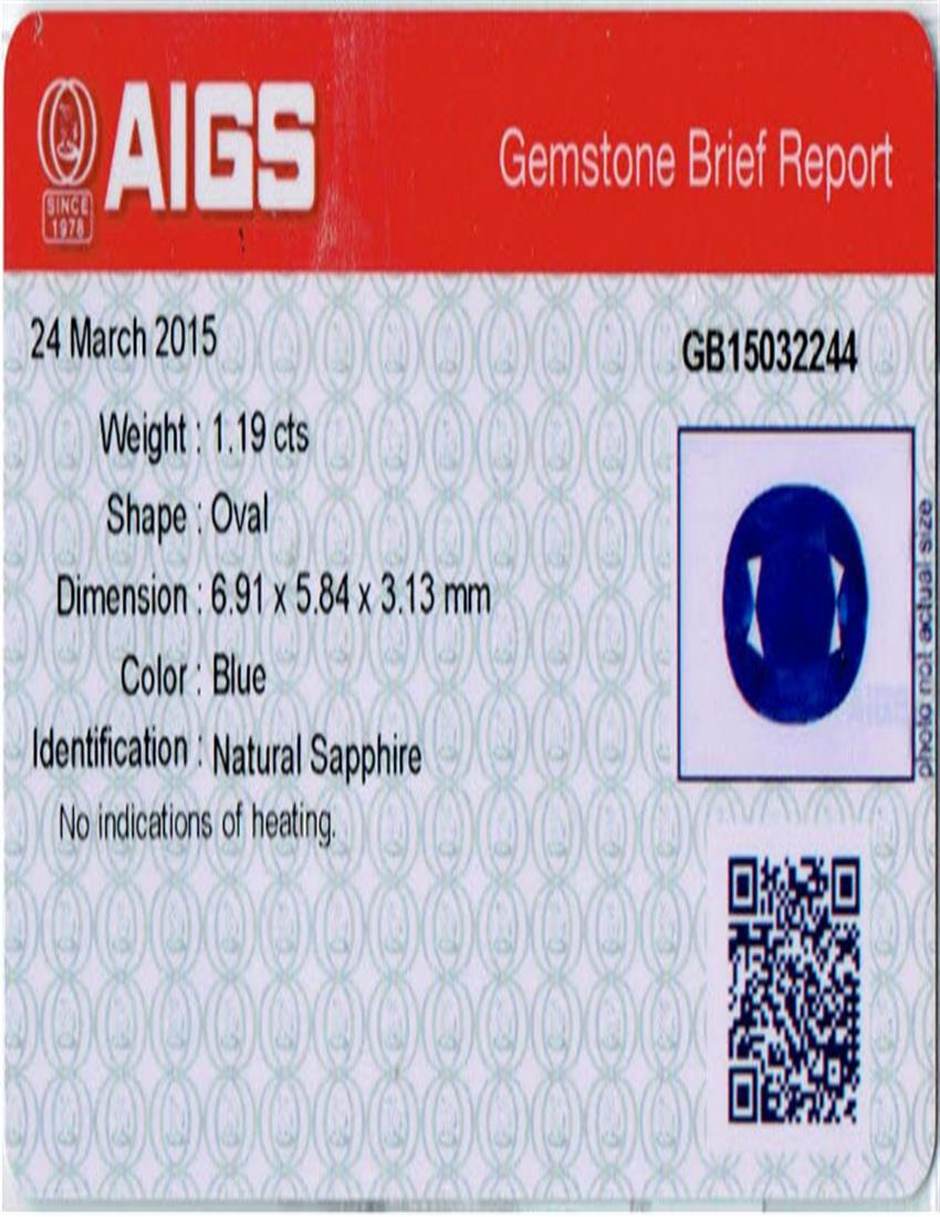 Natural Untreated Blue Sapphire B7612 Certification 3