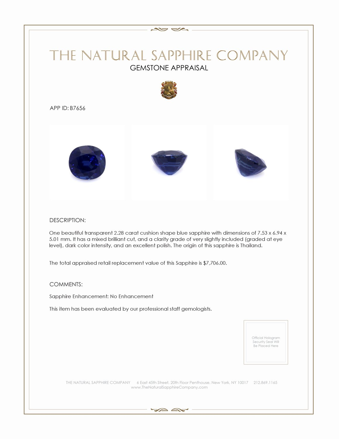 Natural Untreated Blue Sapphire B7656 Certification 3