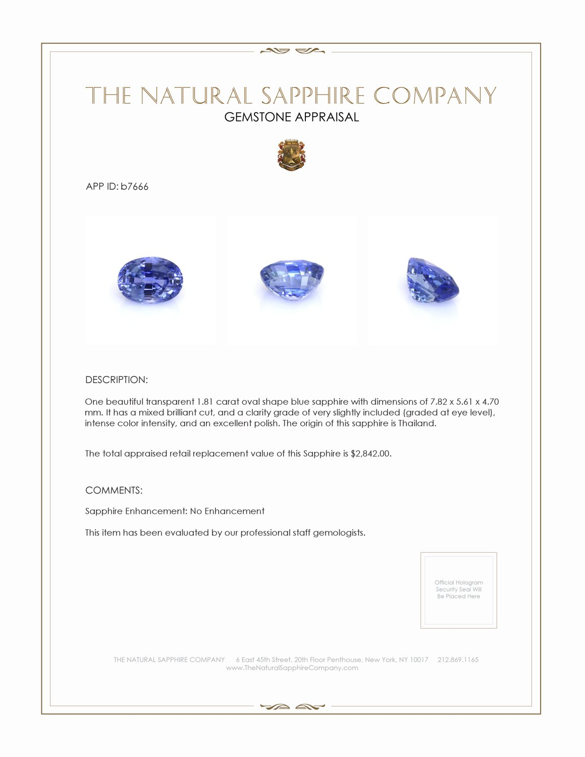 Natural Untreated Blue Sapphire B7666 Certification 4