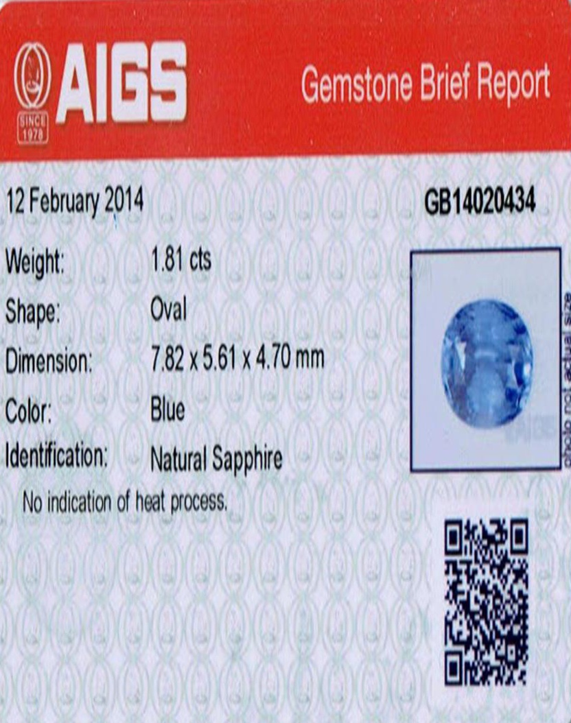 Natural Untreated Blue Sapphire B7666 Certification 3
