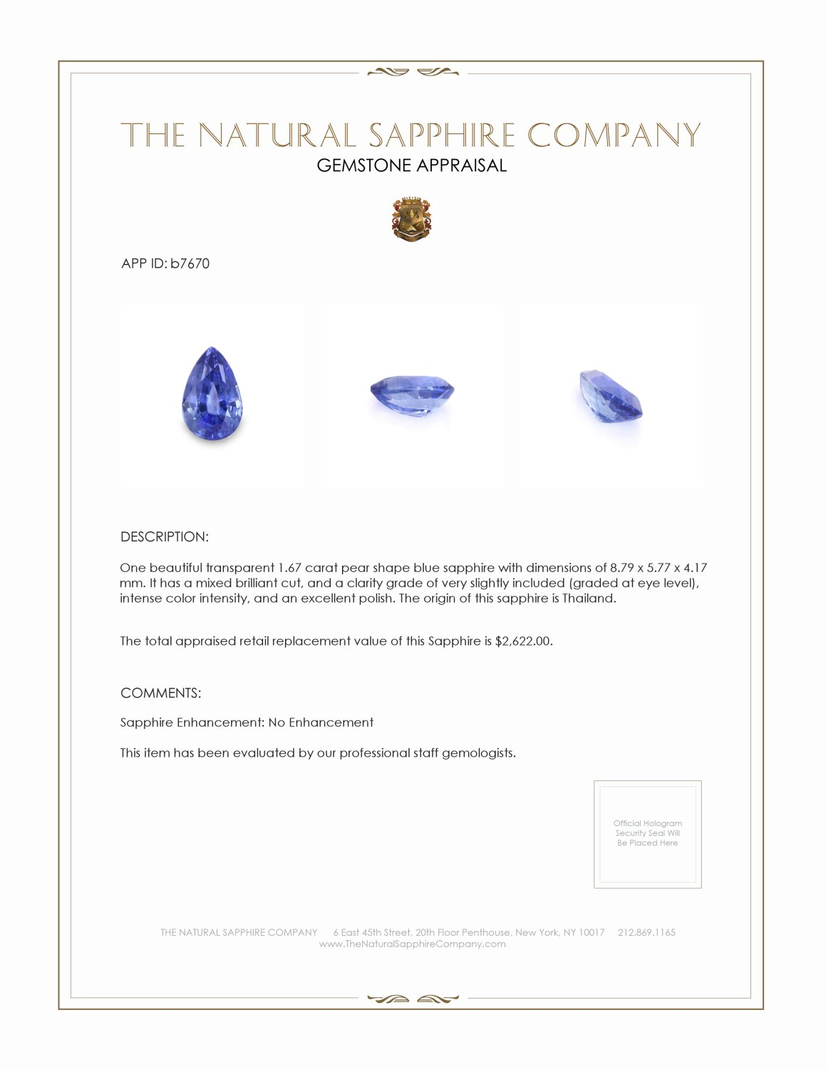 Natural Untreated Blue Sapphire B7670 Certification