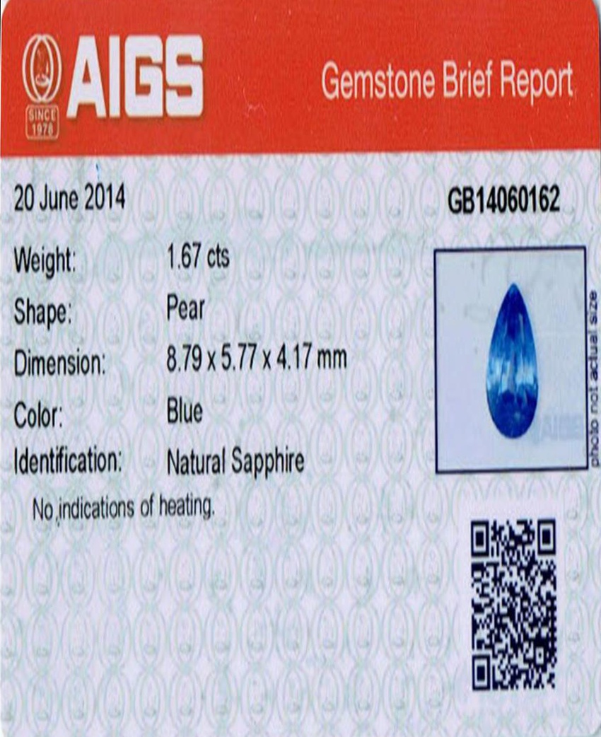 Natural Untreated Blue Sapphire B7670 Certification 3