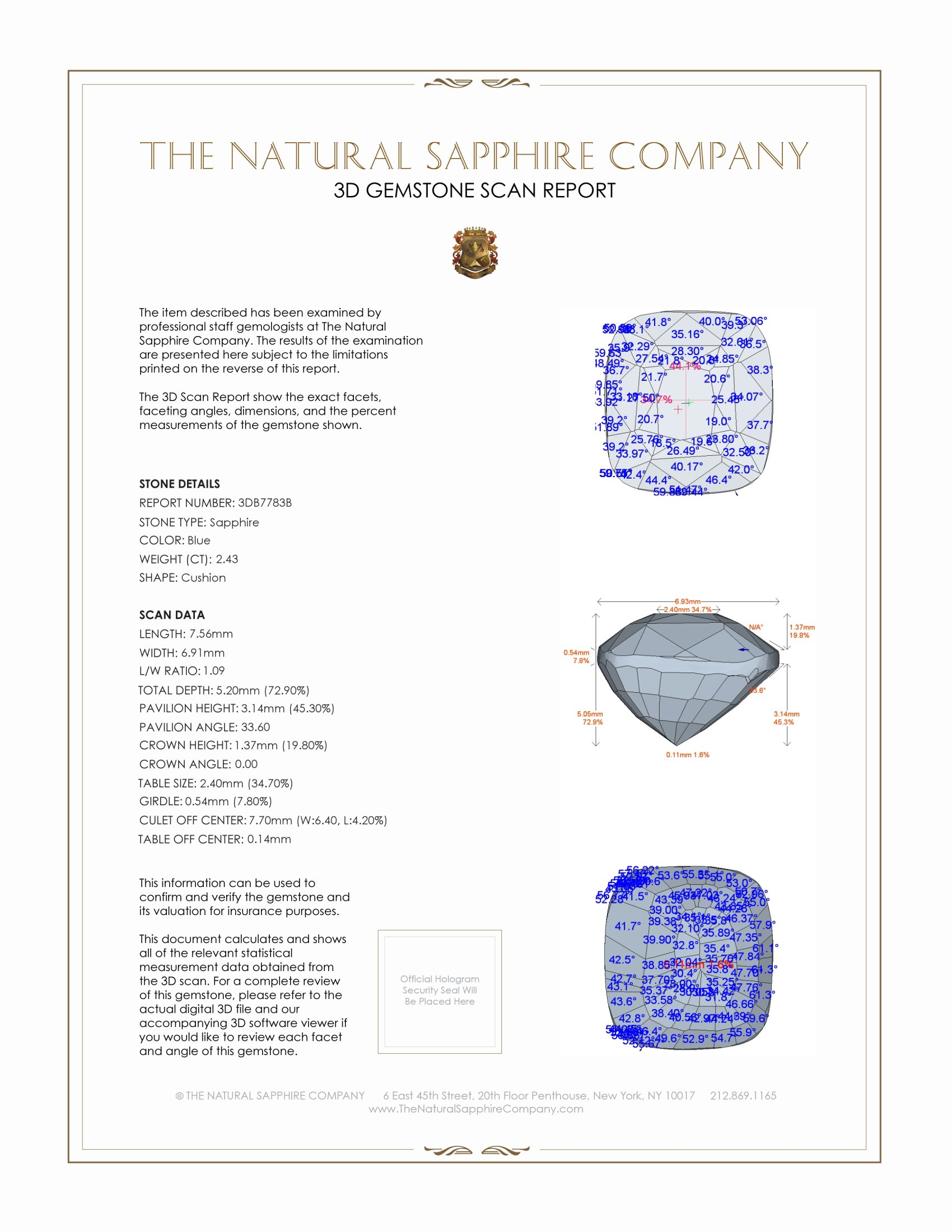Natural Untreated Blue Sapphire B7783 Certification 2