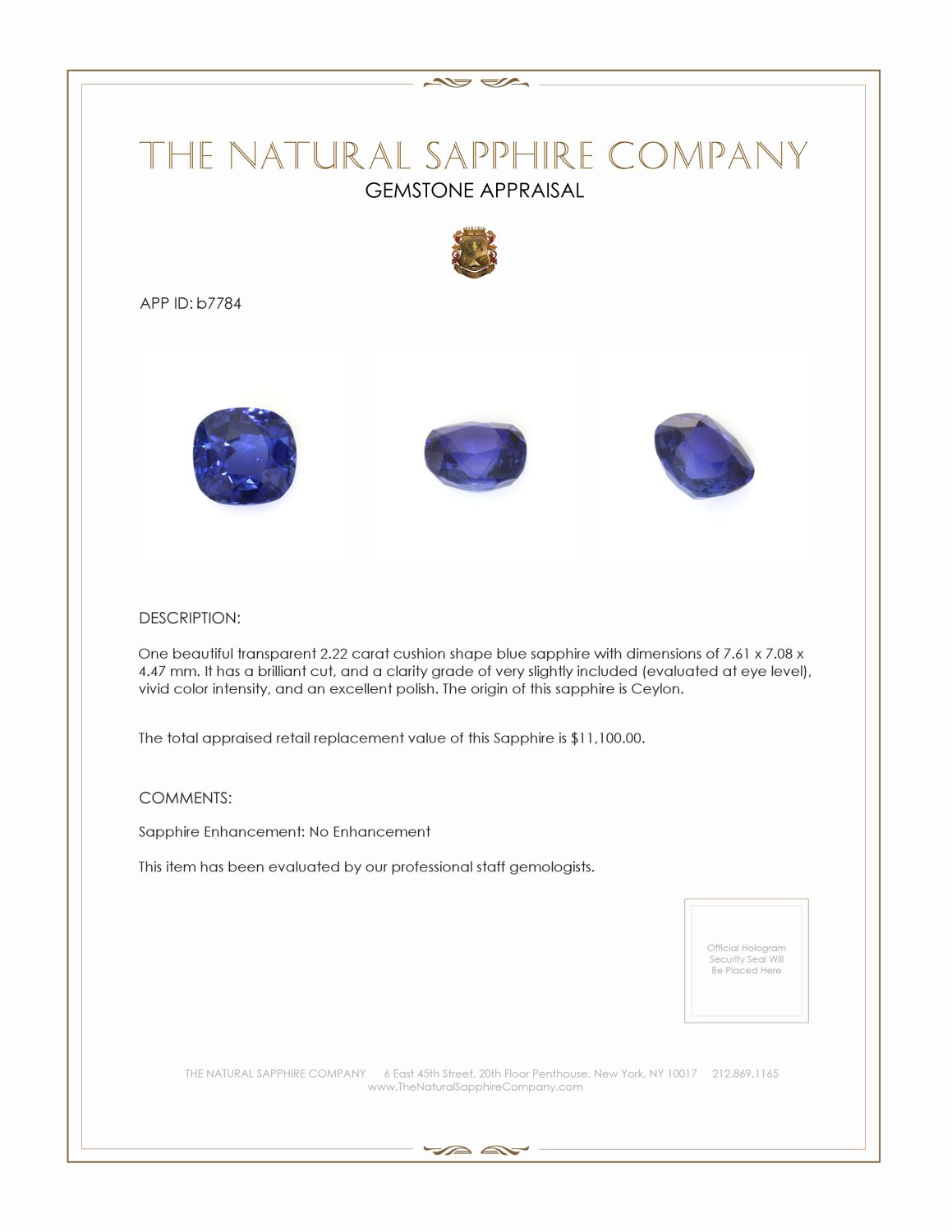 Natural Untreated Blue Sapphire B7784 Certification 4