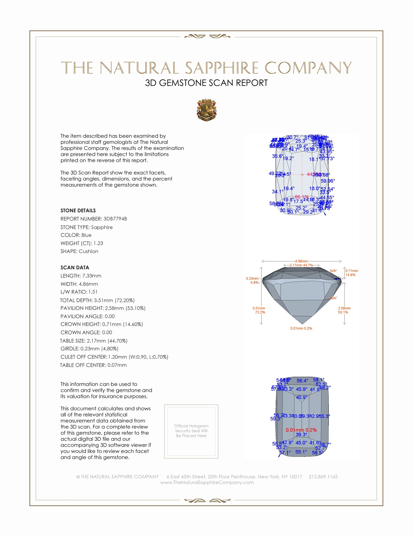 Natural Untreated Blue Sapphire B7794 Certification 2