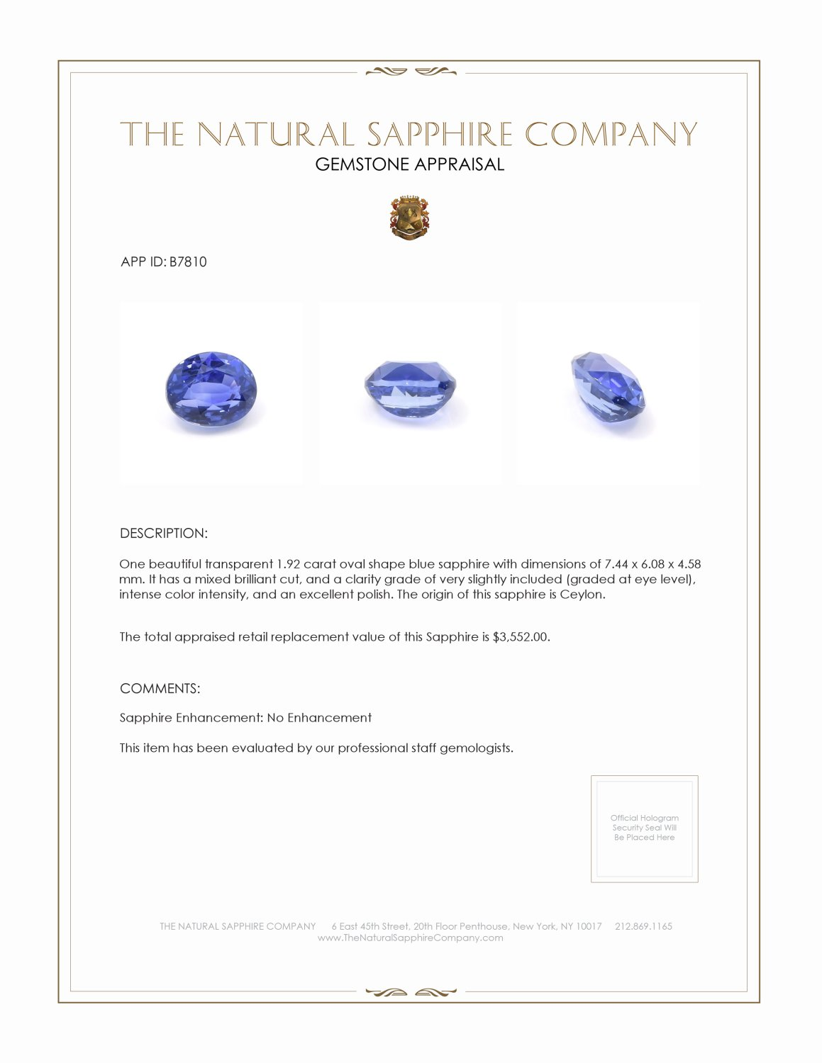 Natural Untreated Blue Sapphire B7810 Certification