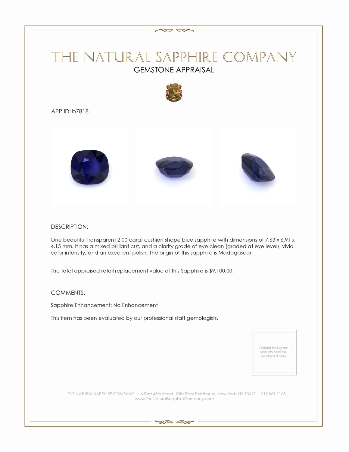 Natural Untreated Blue Sapphire B7818 Certification 3