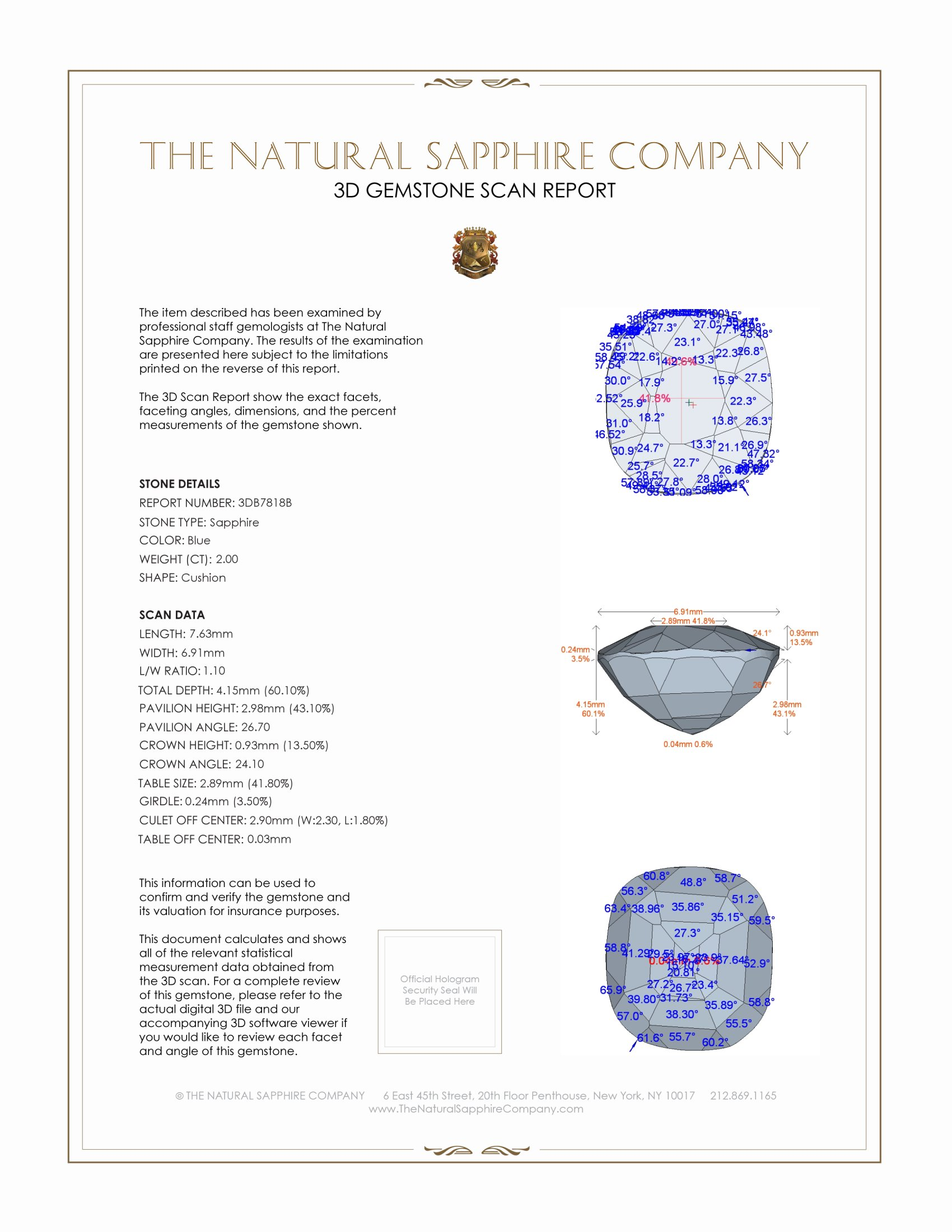 Natural Untreated Blue Sapphire B7818 Certification 2
