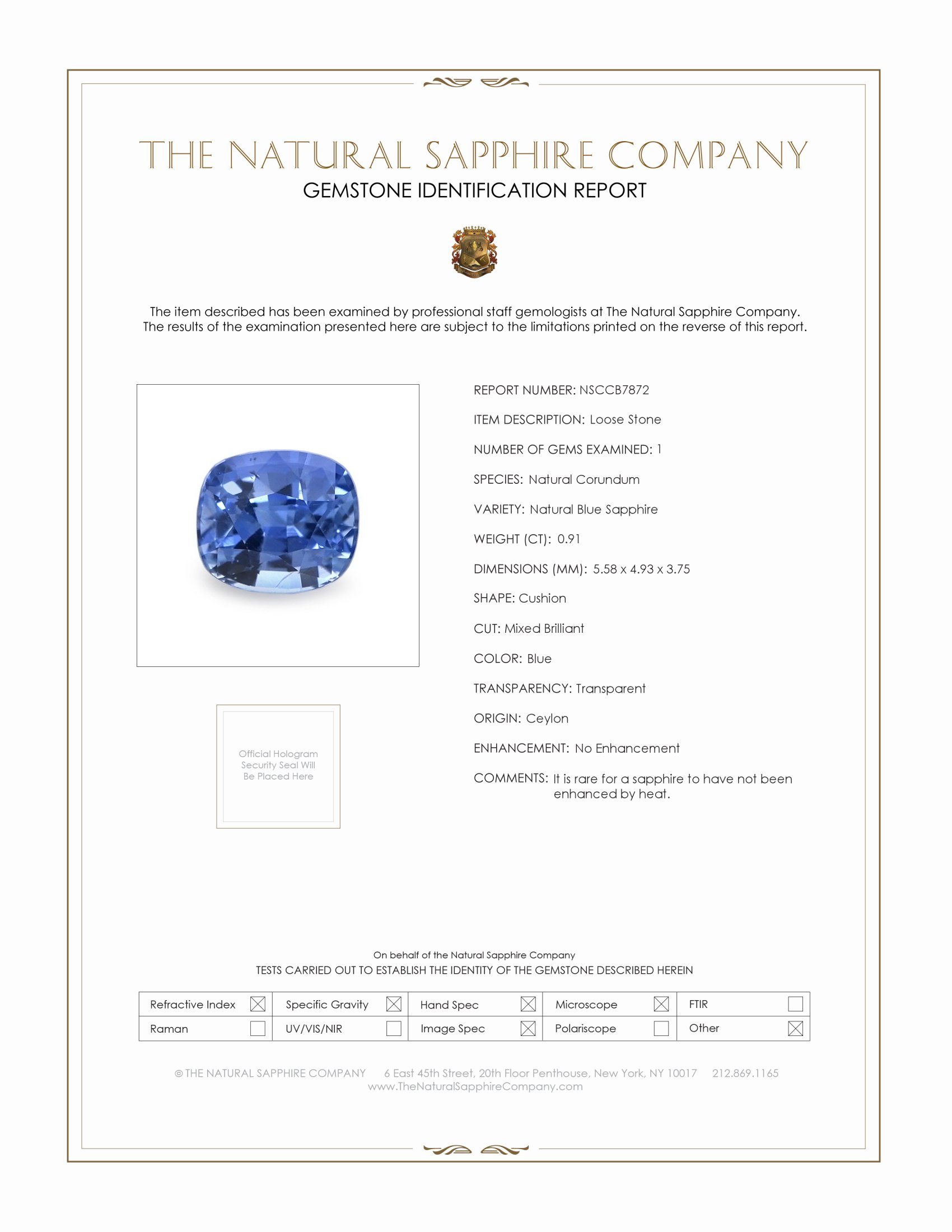 Natural Untreated Blue Sapphire B7872 Certification