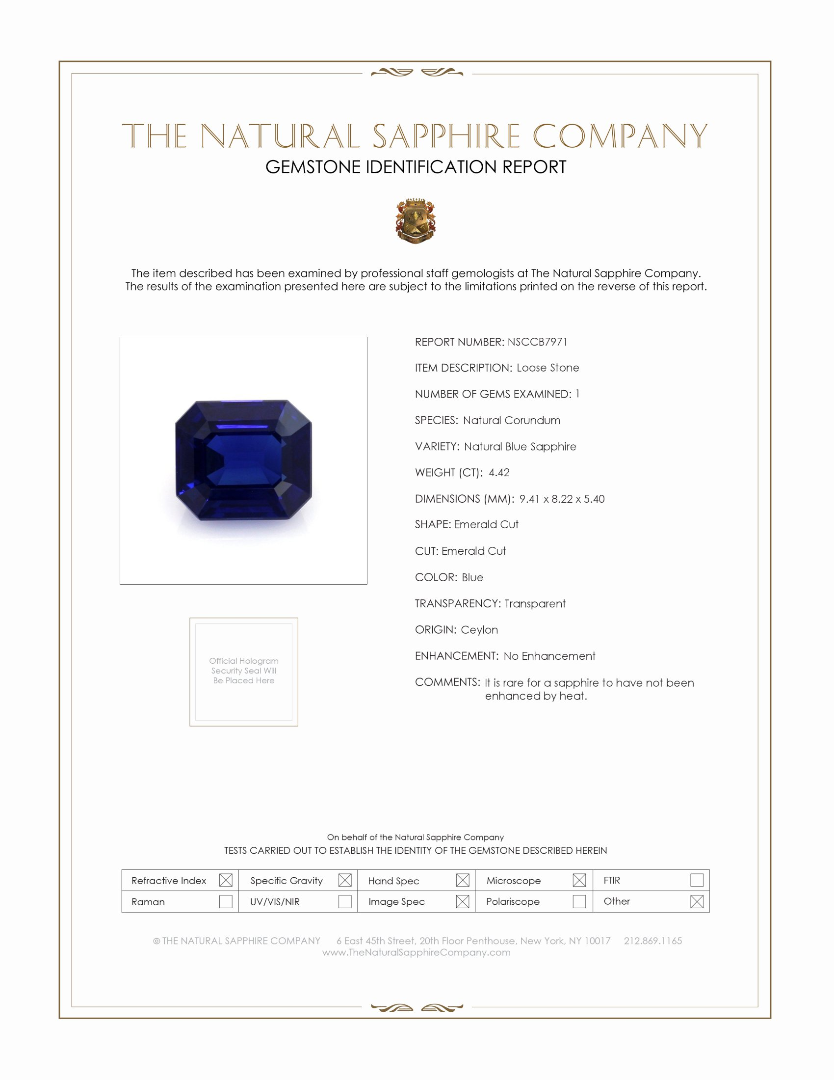Natural Untreated Blue Sapphire B7971 Certification