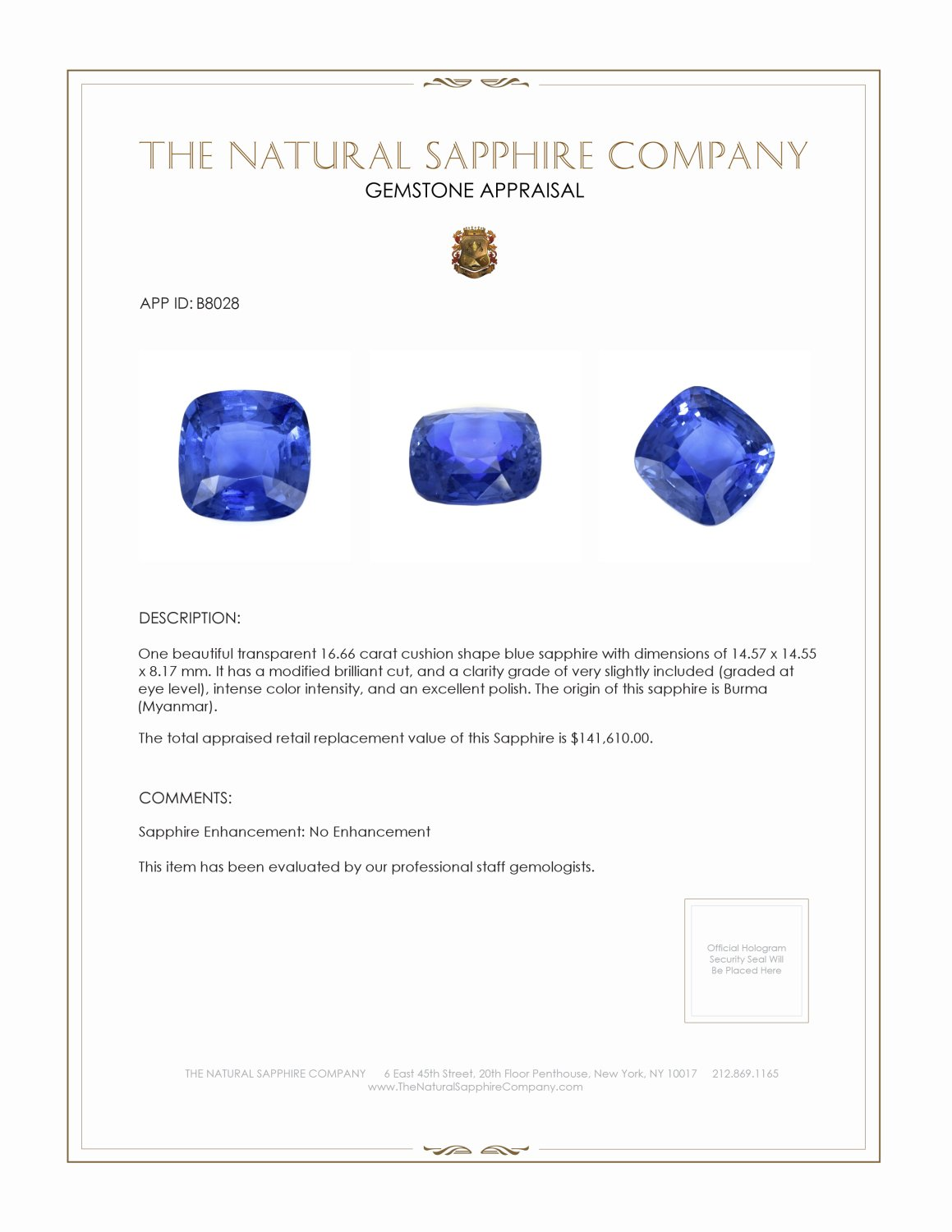 Natural Untreated Blue Sapphire B8028 Certification 4