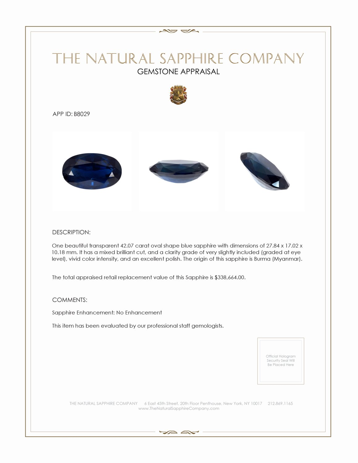 Natural Untreated Blue Sapphire B8029 Certification 4