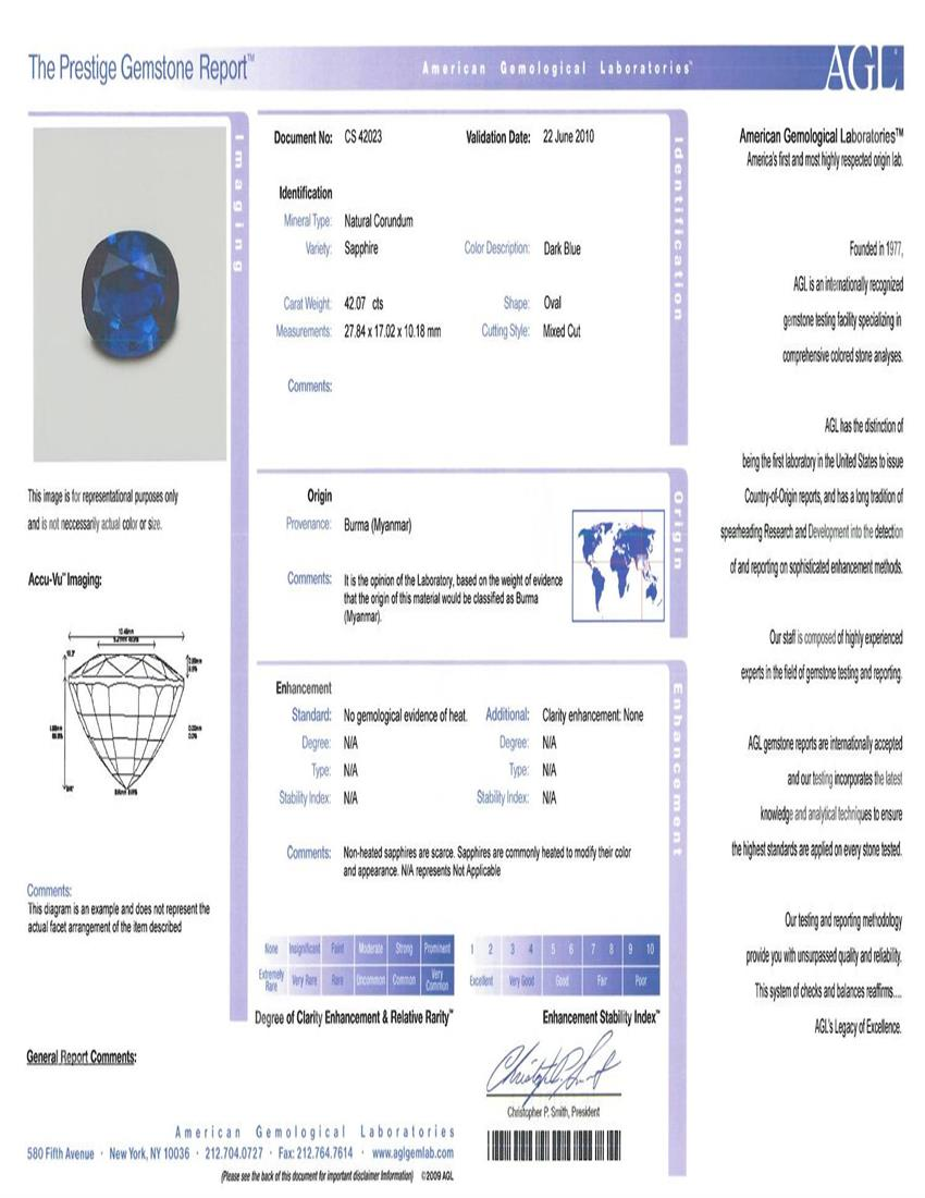Natural Untreated Blue Sapphire B8029 Certification 3