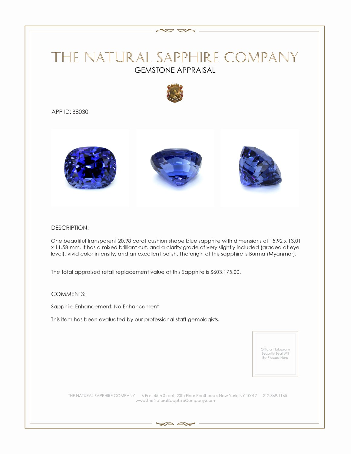 Natural Untreated Blue Sapphire B8030 Certification 4