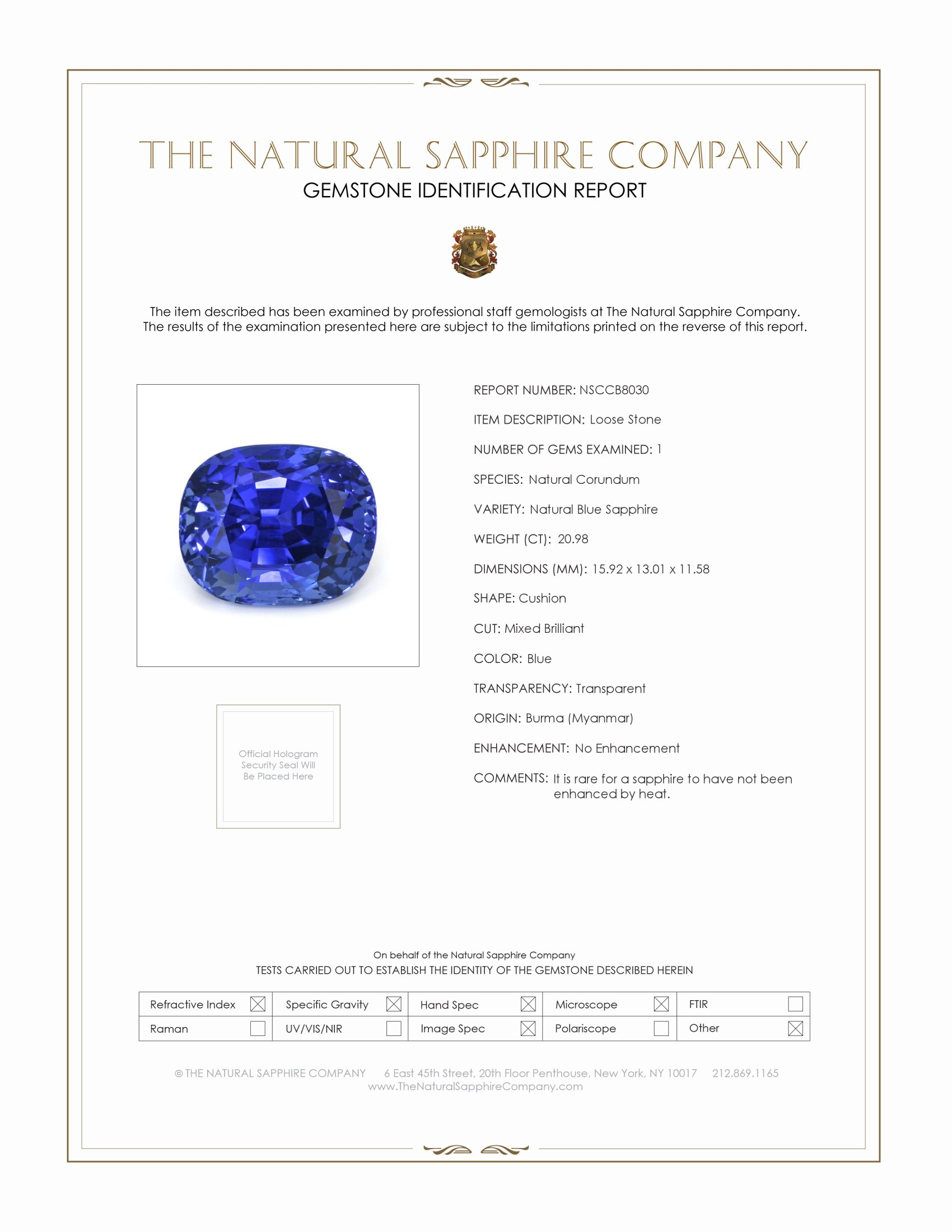Natural Untreated Blue Sapphire B8030 Certification