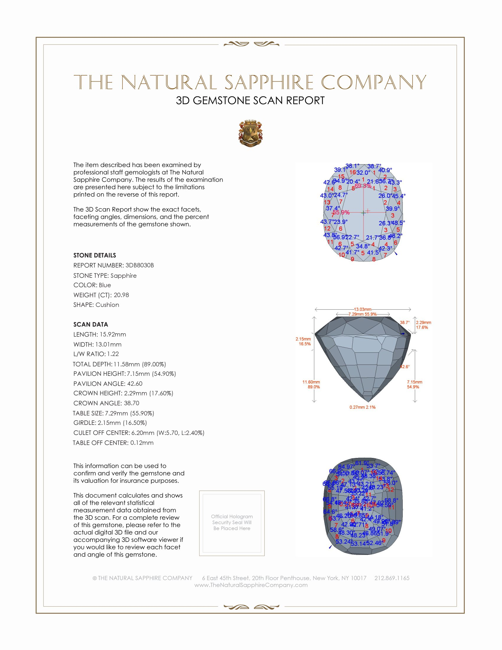 Natural Untreated Blue Sapphire B8030 Certification 2