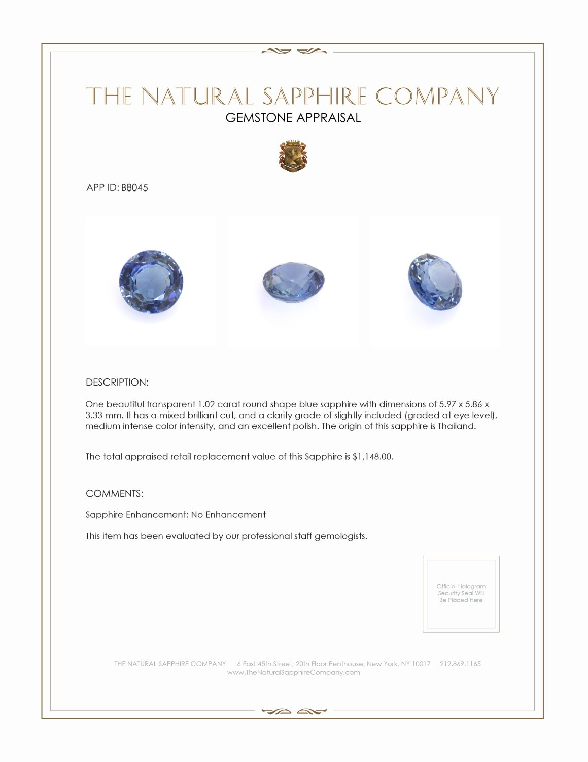 Natural Untreated Blue Sapphire B8045 Certification 3