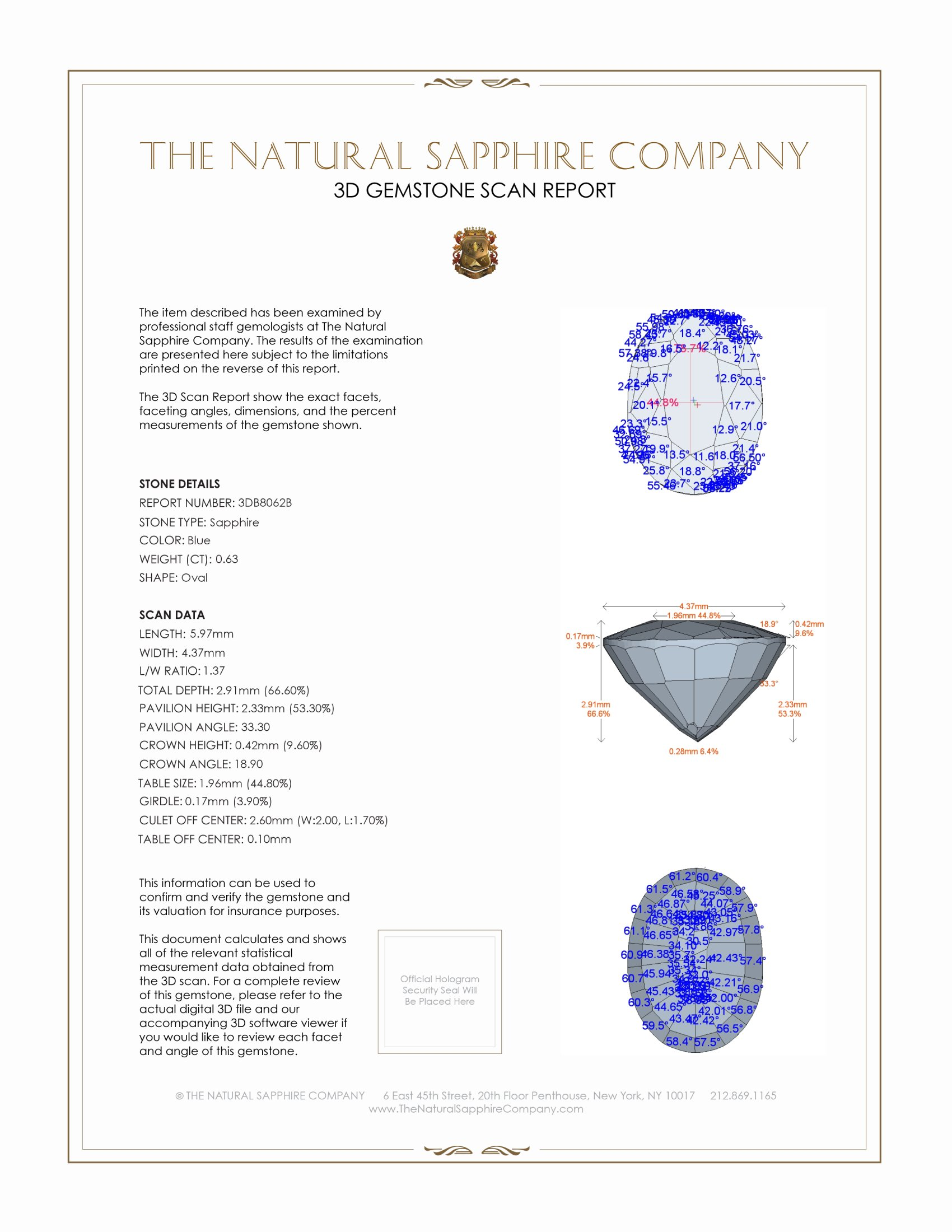 Natural Untreated Blue Sapphire B8062 Certification 2