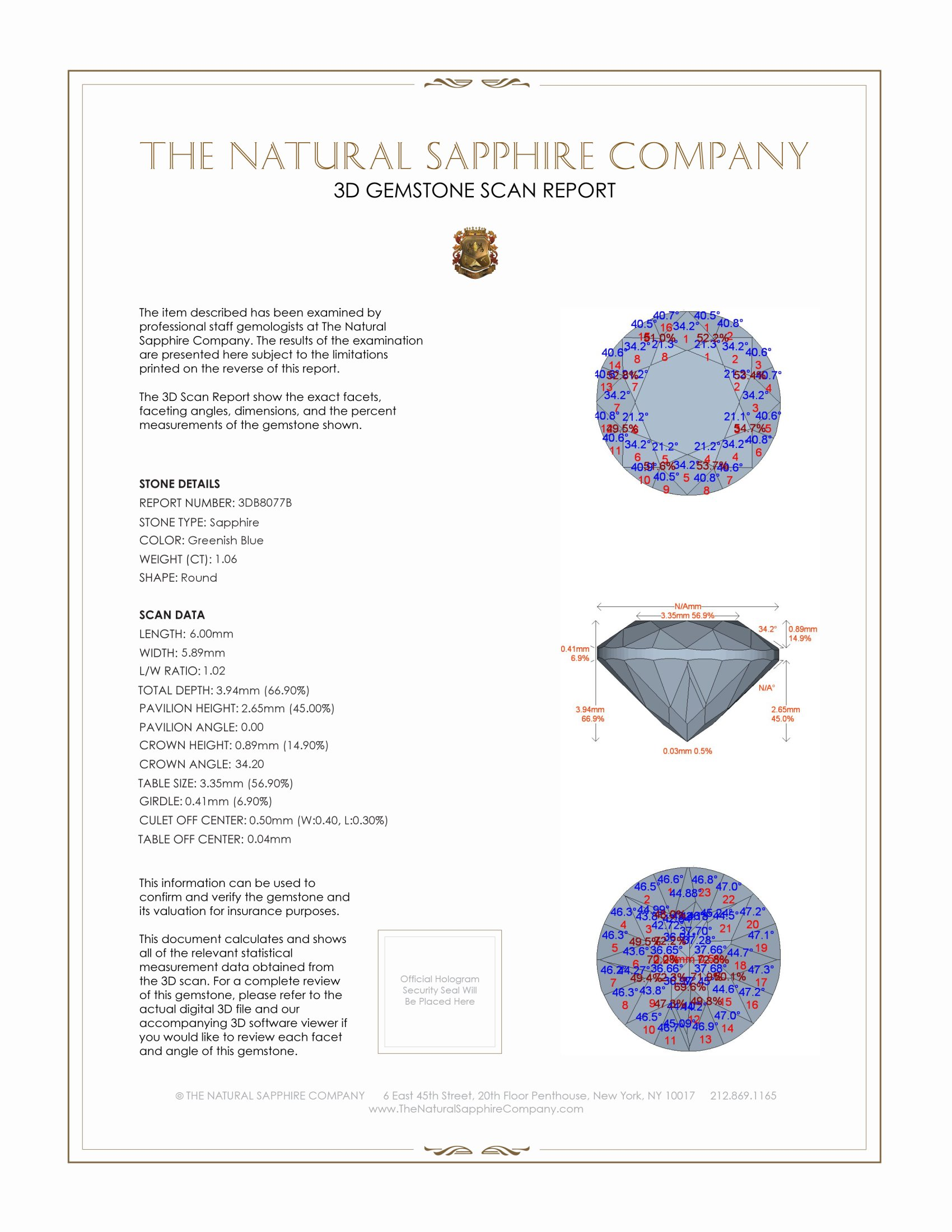 Natural Blue Sapphire B8077 Certification 2