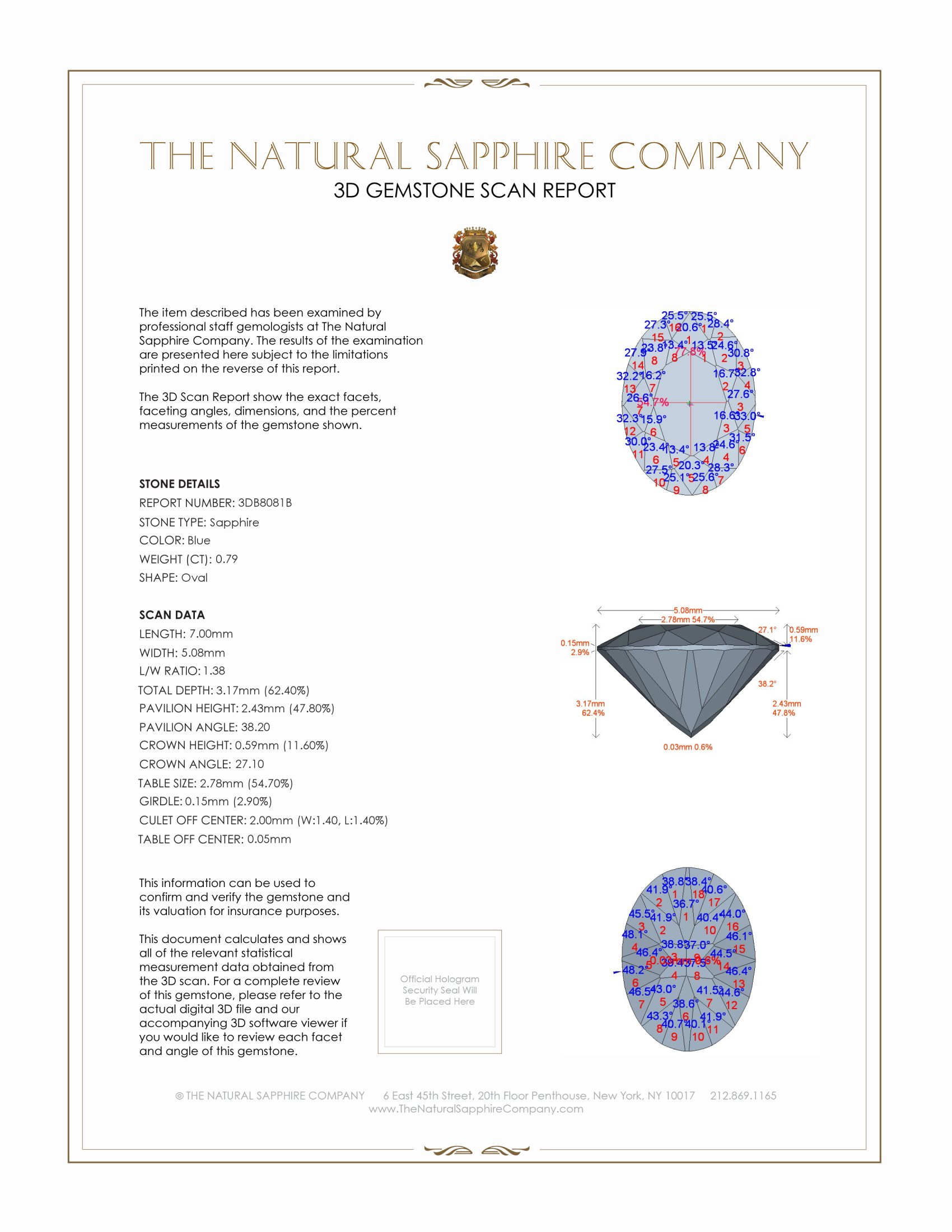 Natural Blue Sapphire B8081 Certification 2