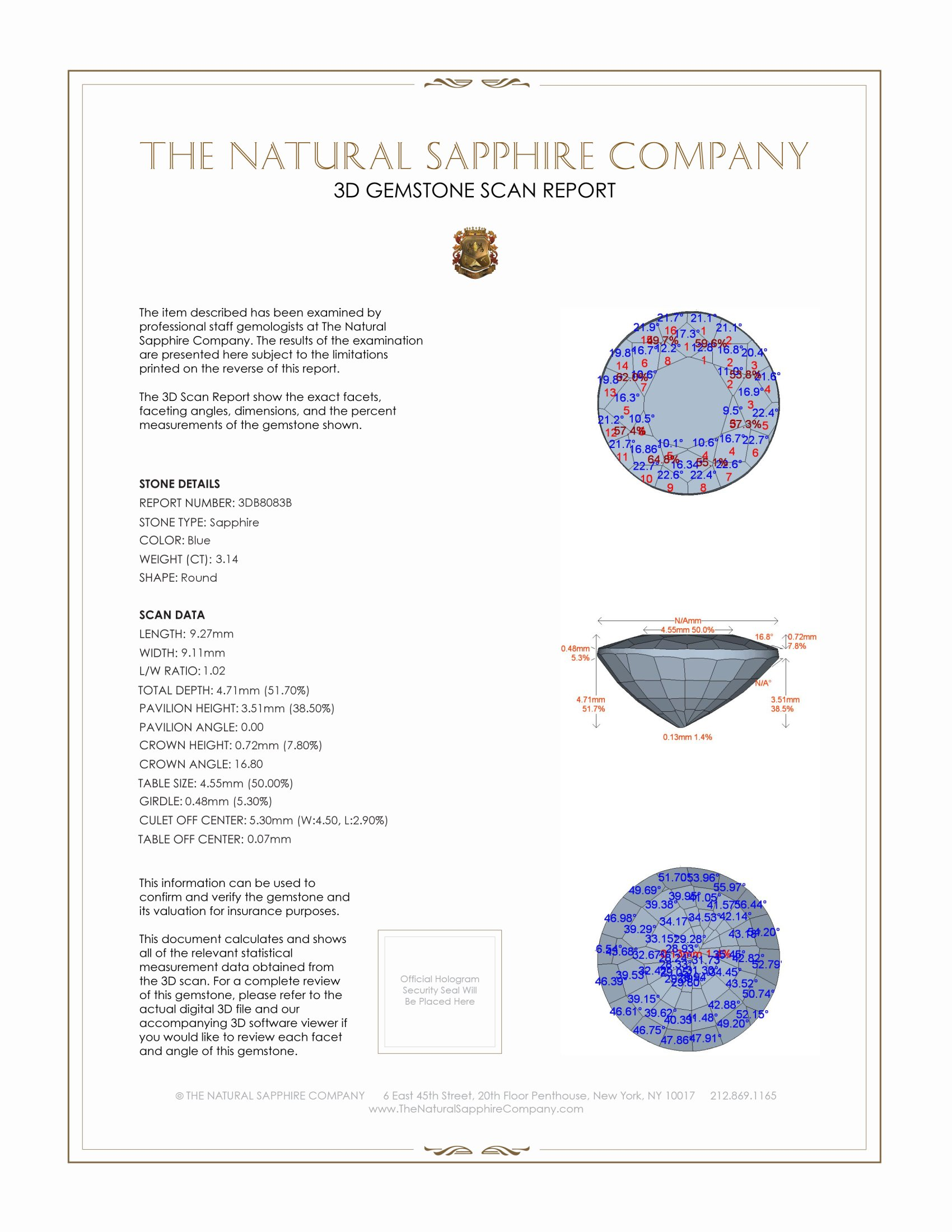 Natural Untreated Blue Sapphire B8083 Certification 2