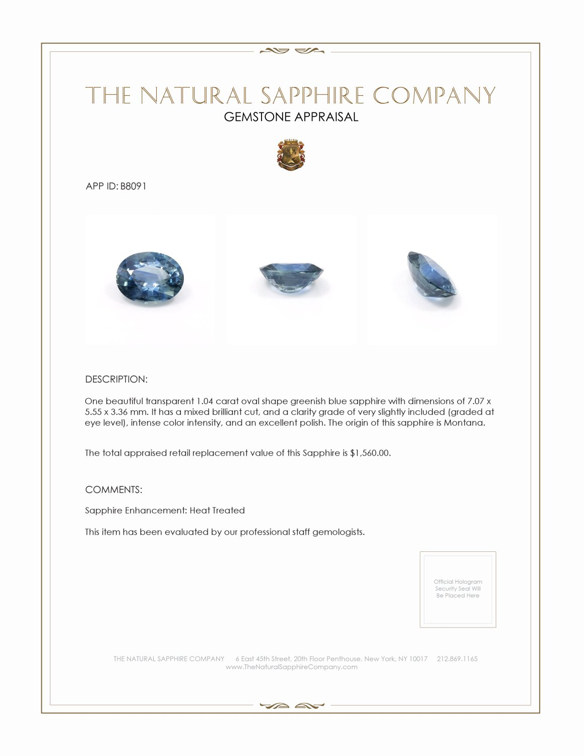 Natural Blue Sapphire B8091 Certification