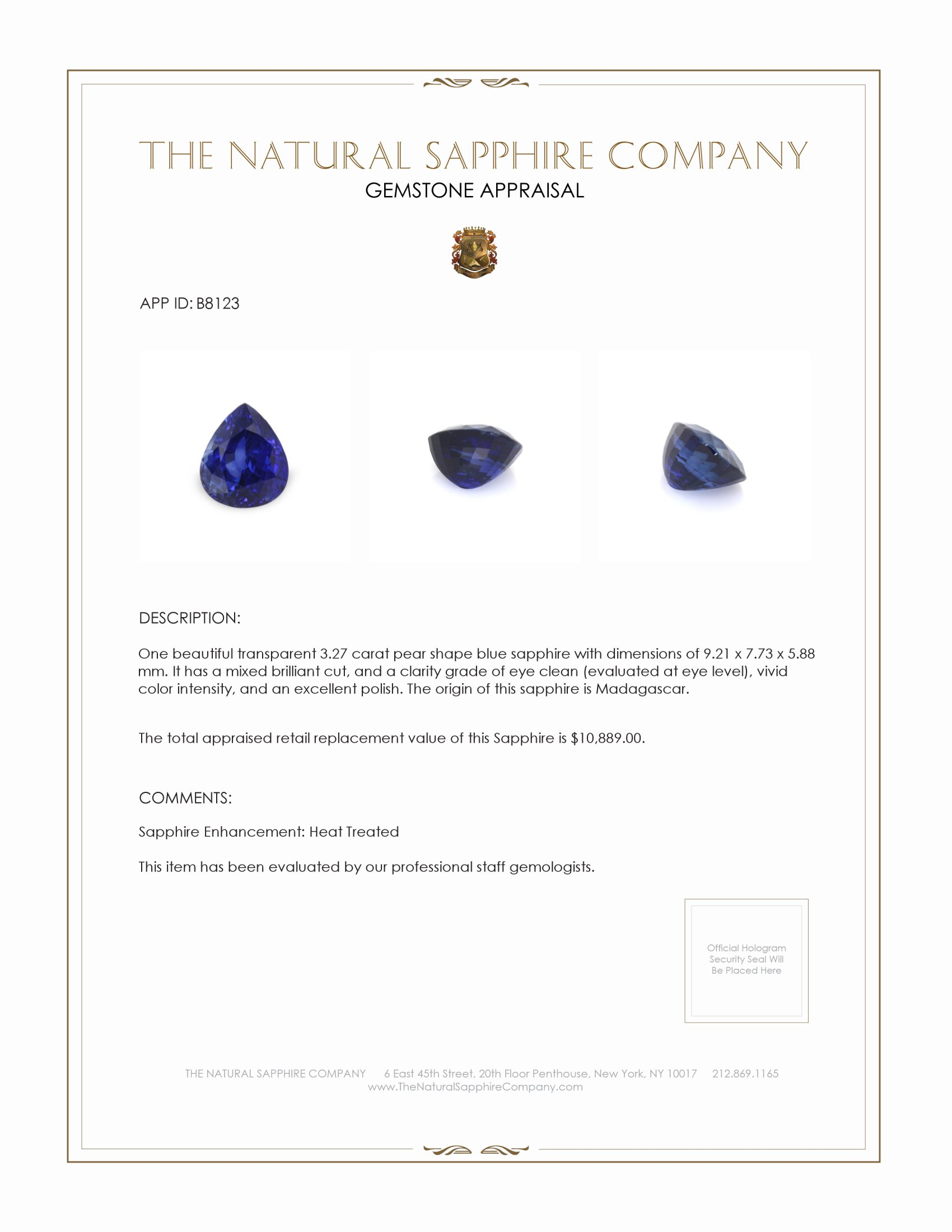 Natural Blue Sapphire B8123 Certification 4