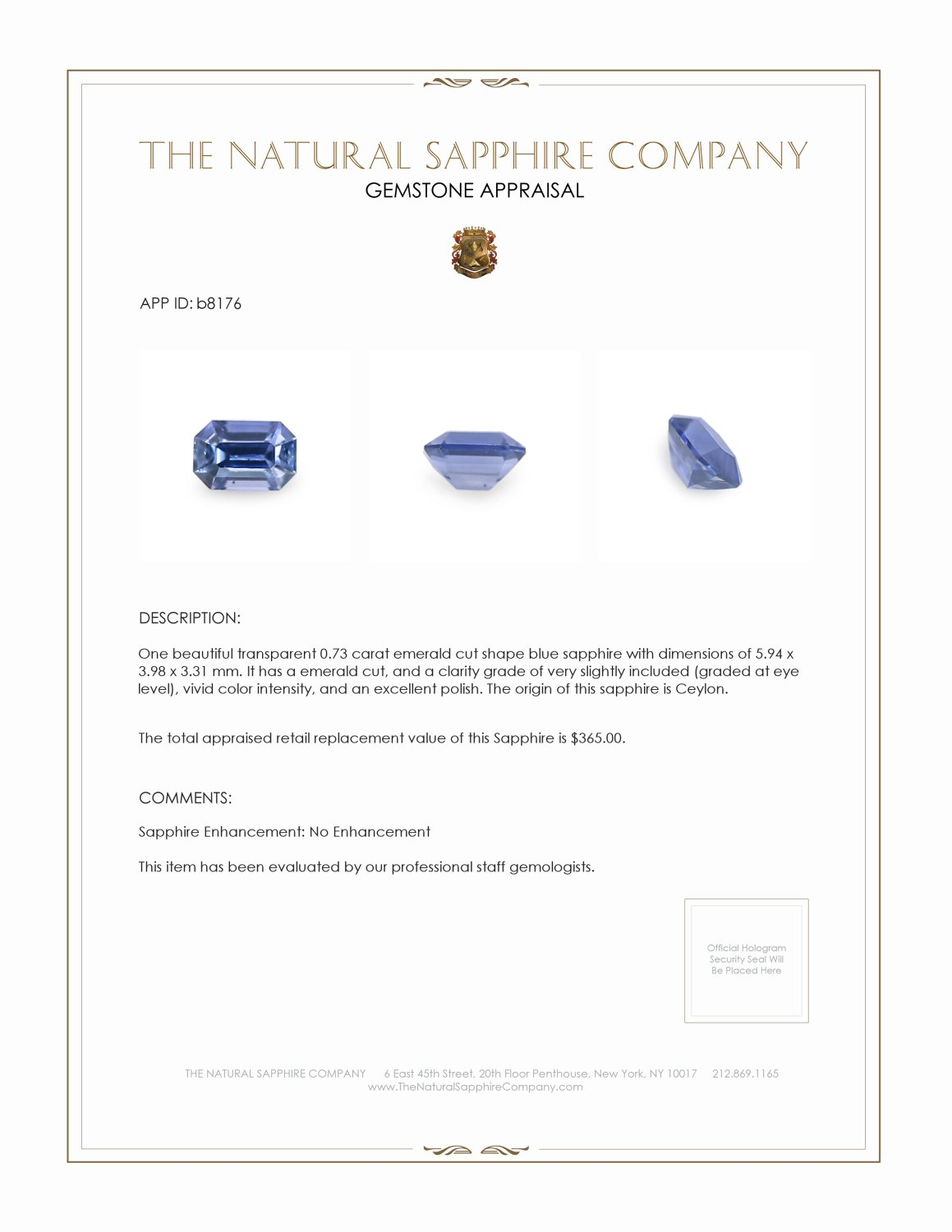Natural Untreated Blue Sapphire B8176 Certification