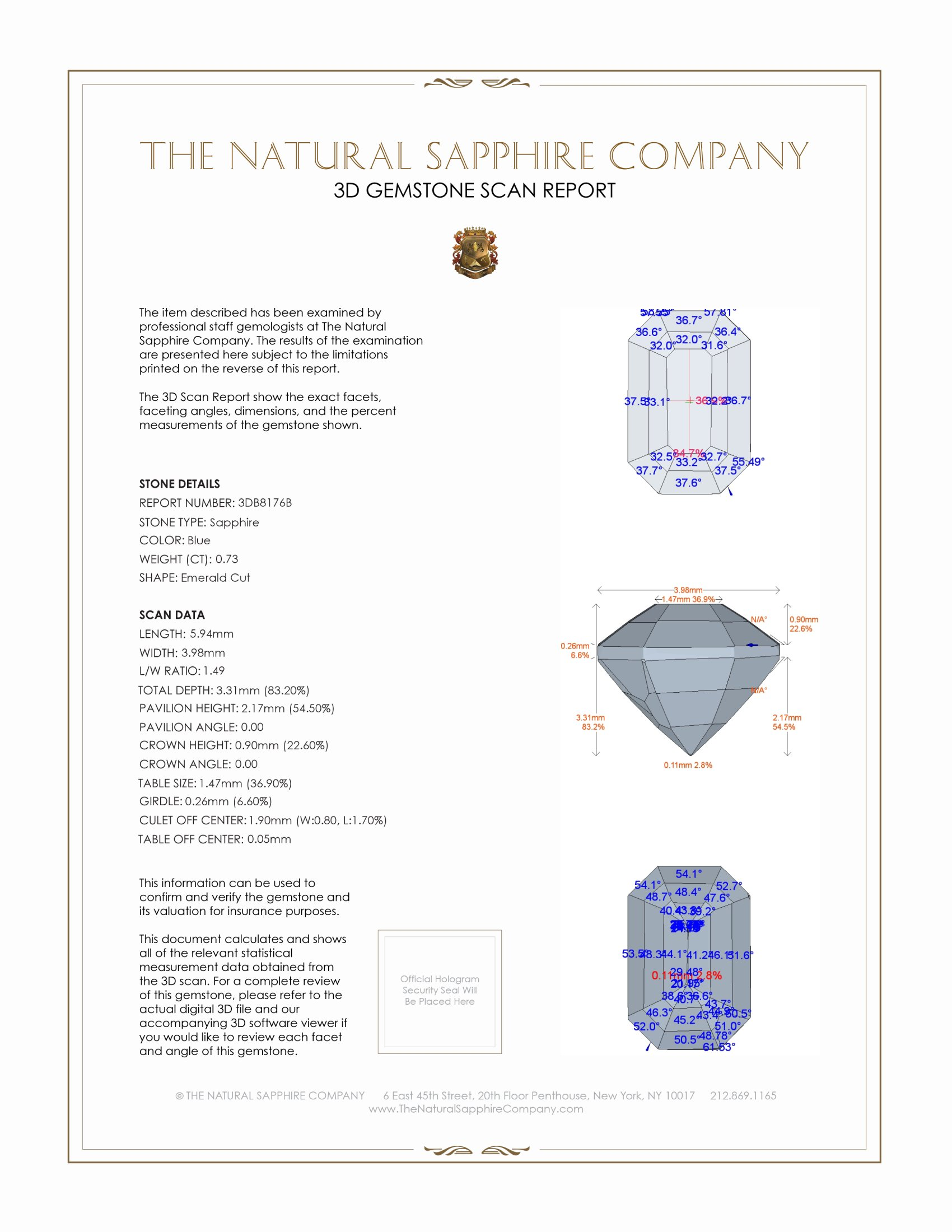 Natural Untreated Blue Sapphire B8176 Certification 2