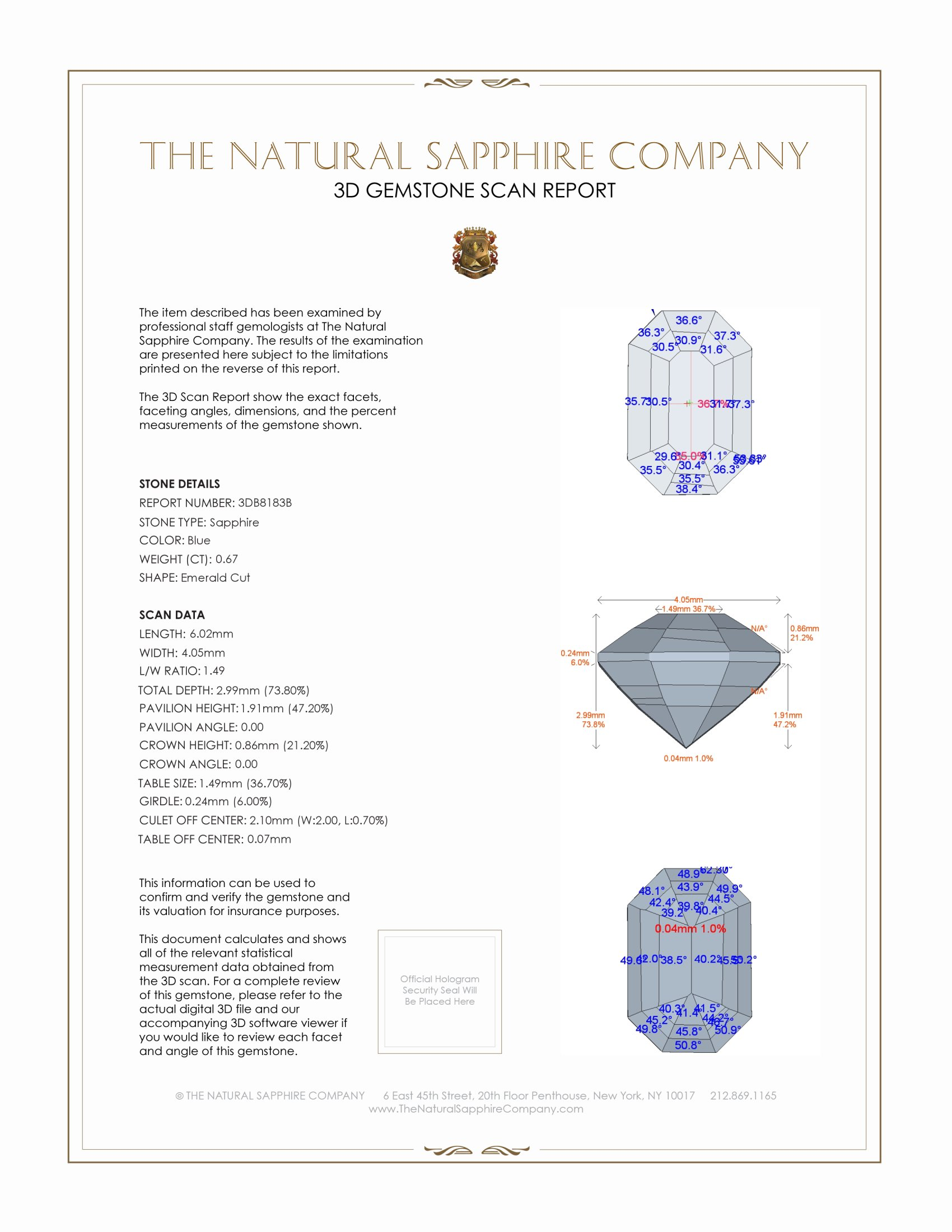 Natural Untreated Blue Sapphire B8183 Certification 2