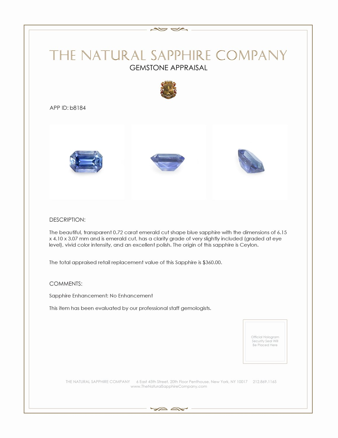 Natural Untreated Blue Sapphire B8184 Certification 3